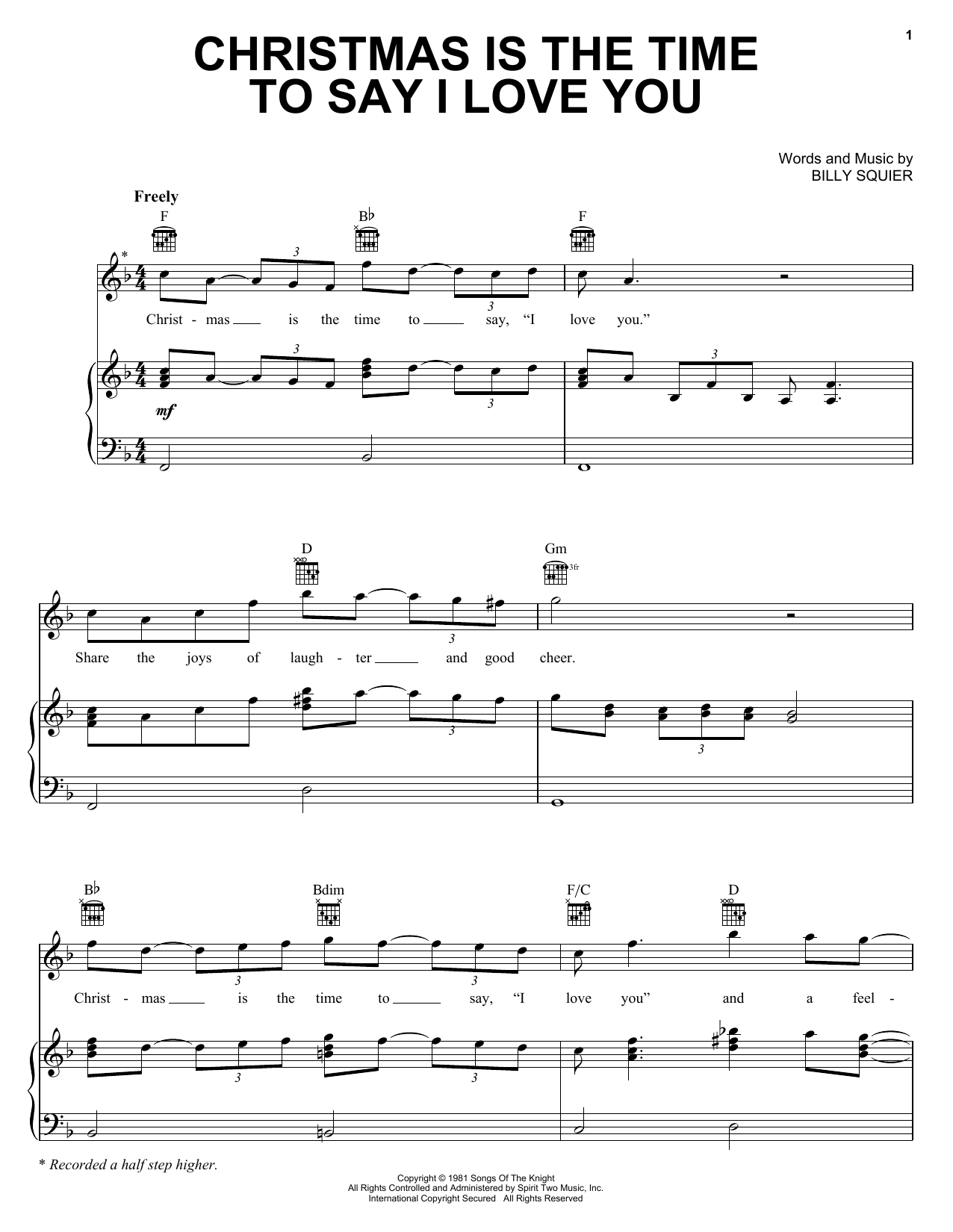Christmas Is The Time To Say I Love You sheet music for voice, piano or guitar by Billy Squier