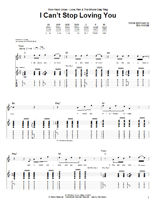 Can't Stop Loving You (Though I Try) sheet music for guitar solo (tablature) by Billy Nicholls