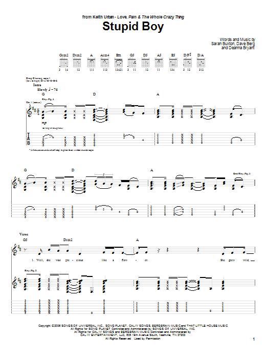 Tablature guitare Stupid Boy de Keith Urban - Tablature Guitare