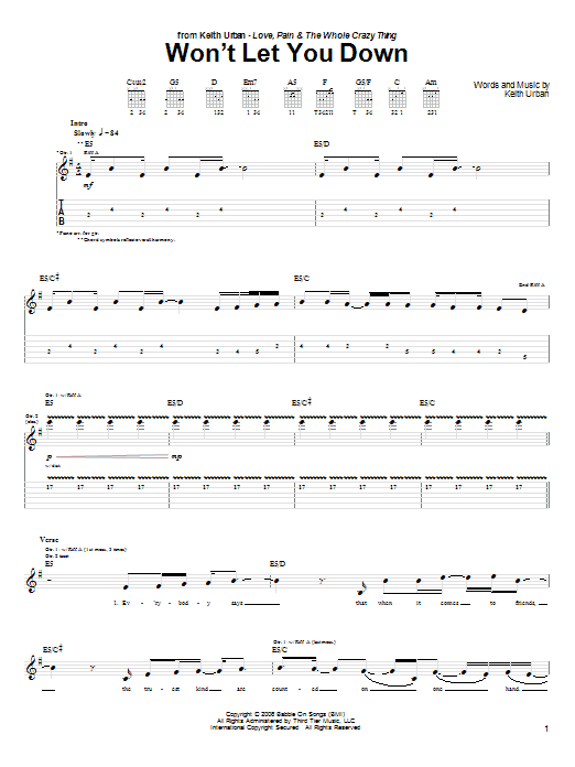 Tablature guitare Won't Let You Down de Keith Urban - Tablature Guitare