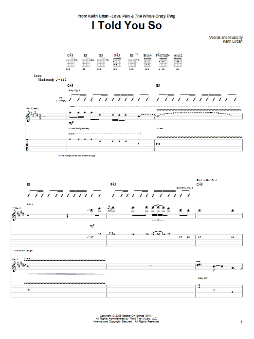 Tablature guitare I Told You So de Keith Urban - Tablature Guitare