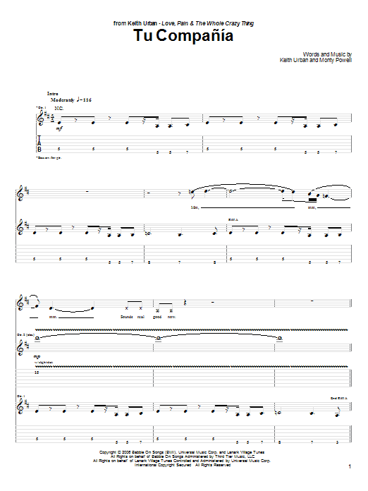Tablature guitare Tu Compania de Keith Urban - Tablature Guitare