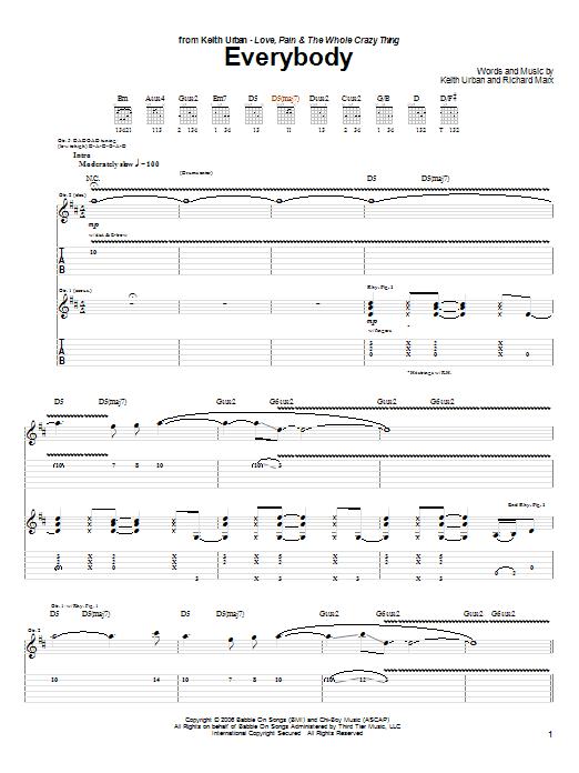 Tablature guitare Everybody de Keith Urban - Tablature Guitare