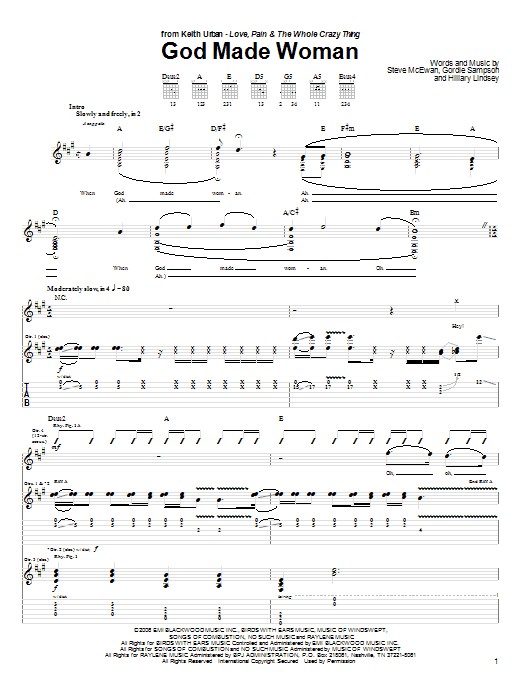 Tablature guitare God Made Woman de Keith Urban - Tablature Guitare