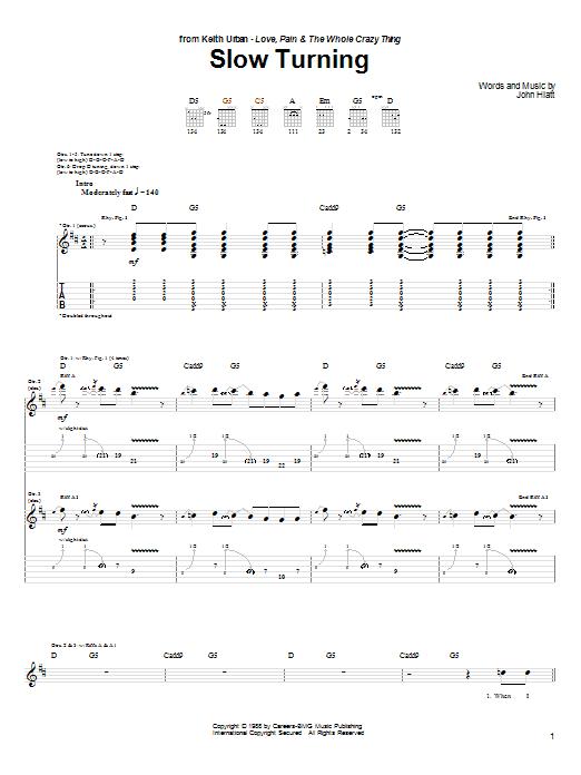 Tablature guitare Slow Turning de Keith Urban - Tablature Guitare