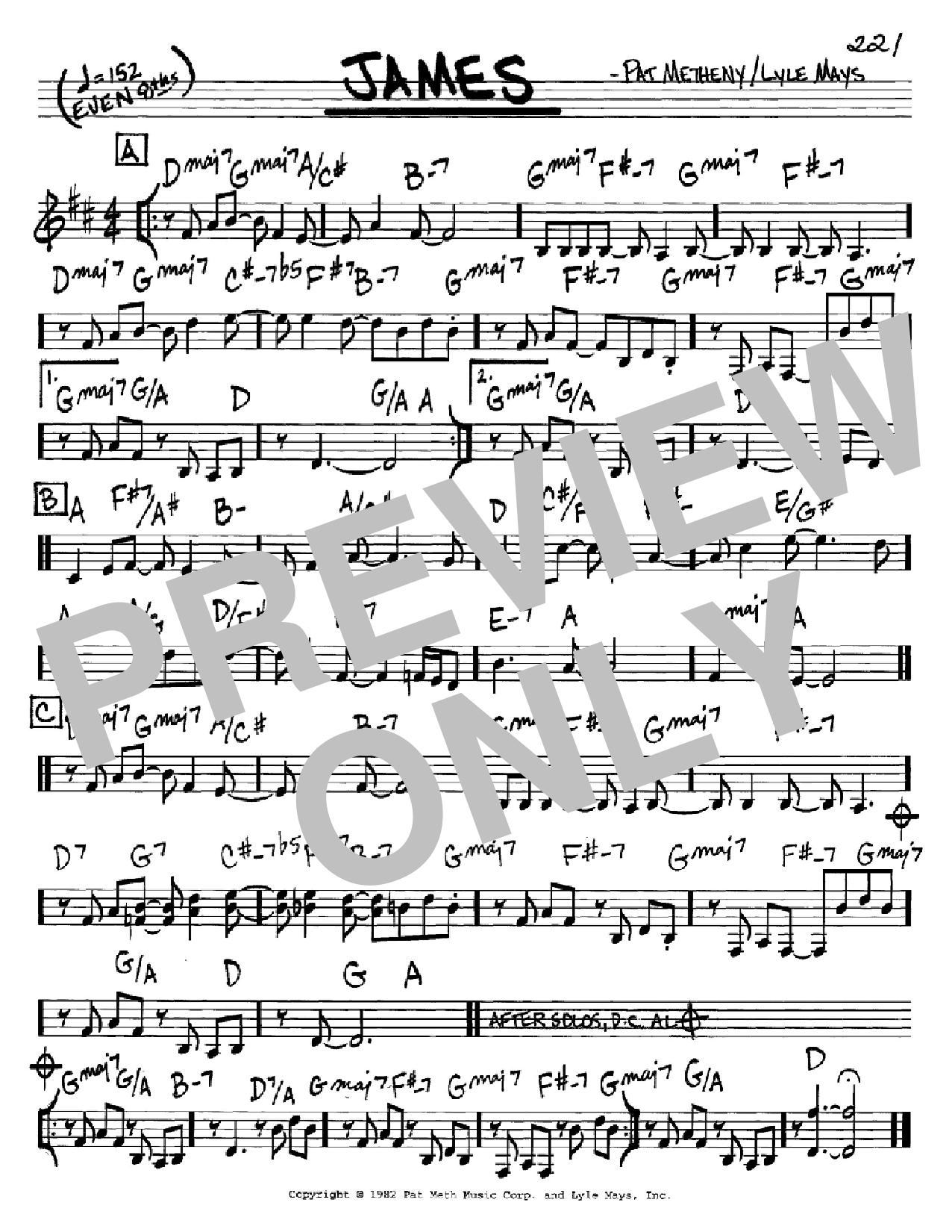 Partition autre James de Pat Metheny - Real Book, Melodie et Accords, Inst. En Do