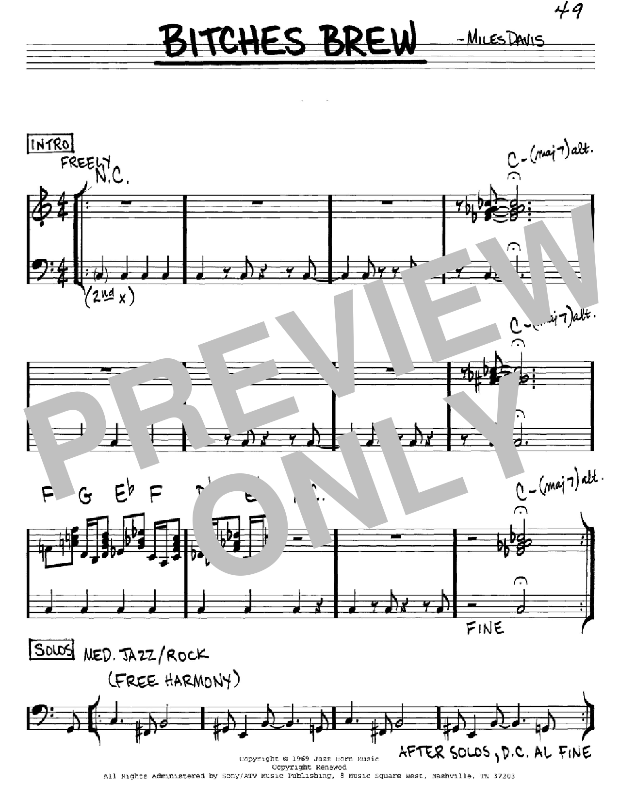Bitches Brew sheet music for voice and other instruments (C) by Miles Davis