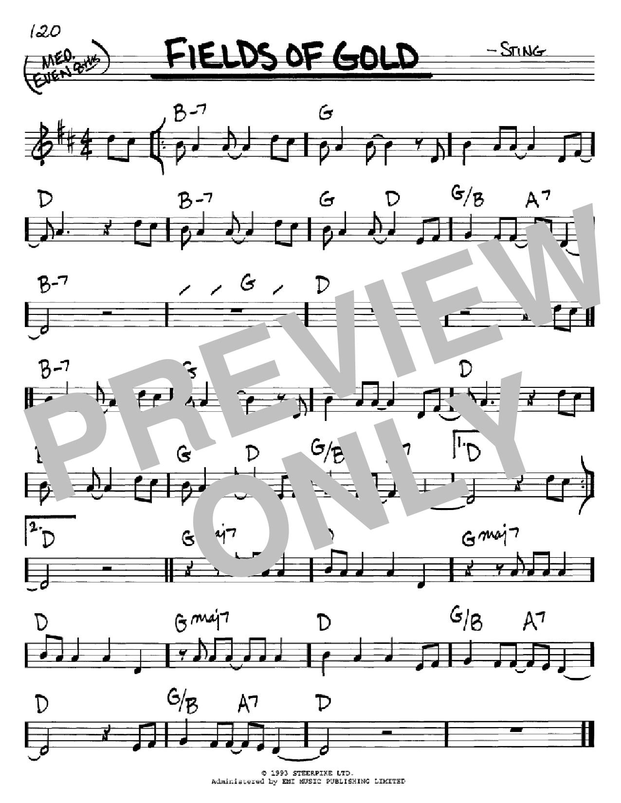 Partition autre Fields Of Gold de Sting - Real Book, Melodie et Accords, Inst. En Do