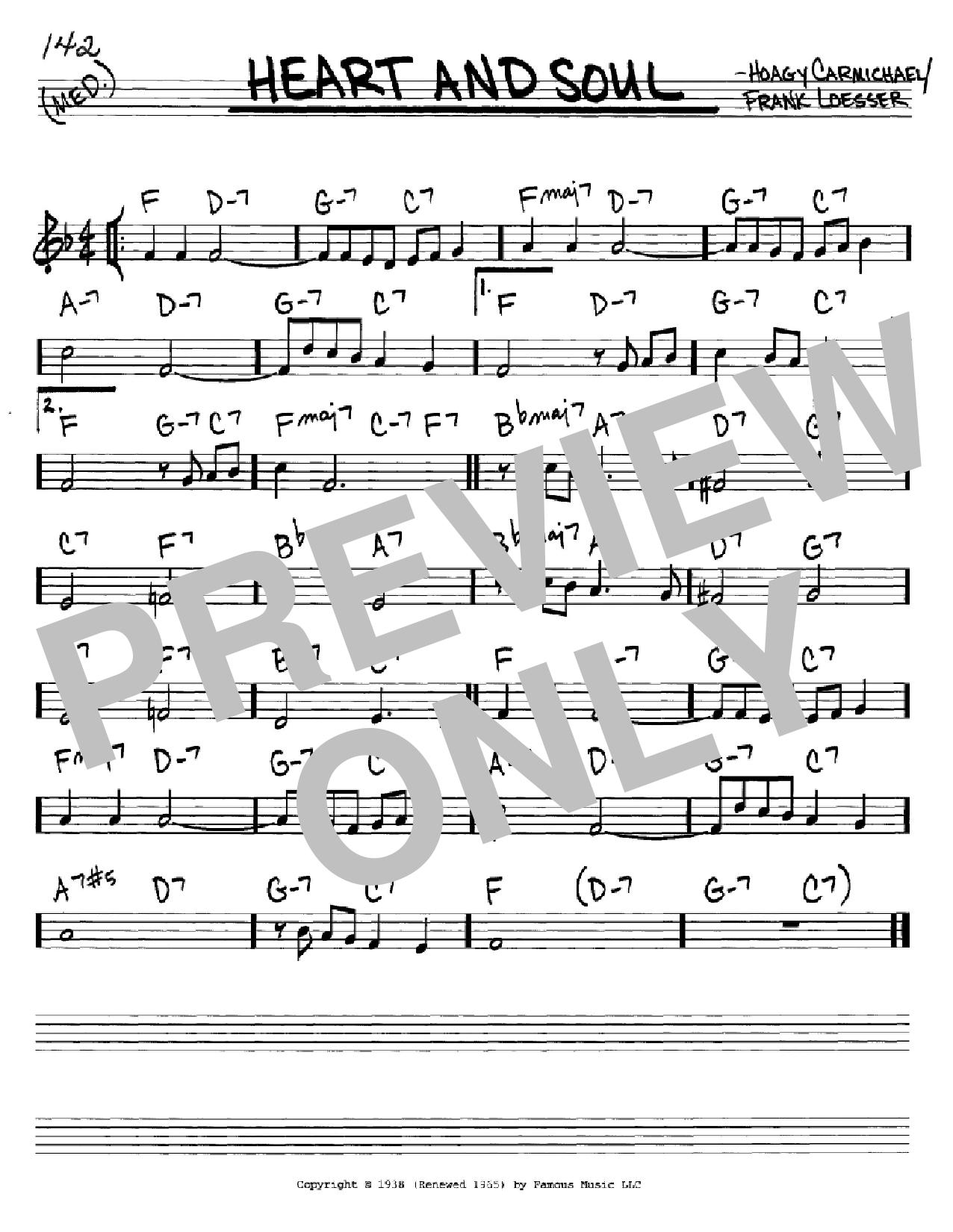 Partition autre Heart And Soul de Hoagy Carmichael - Real Book, Melodie et Accords, Inst. En Do
