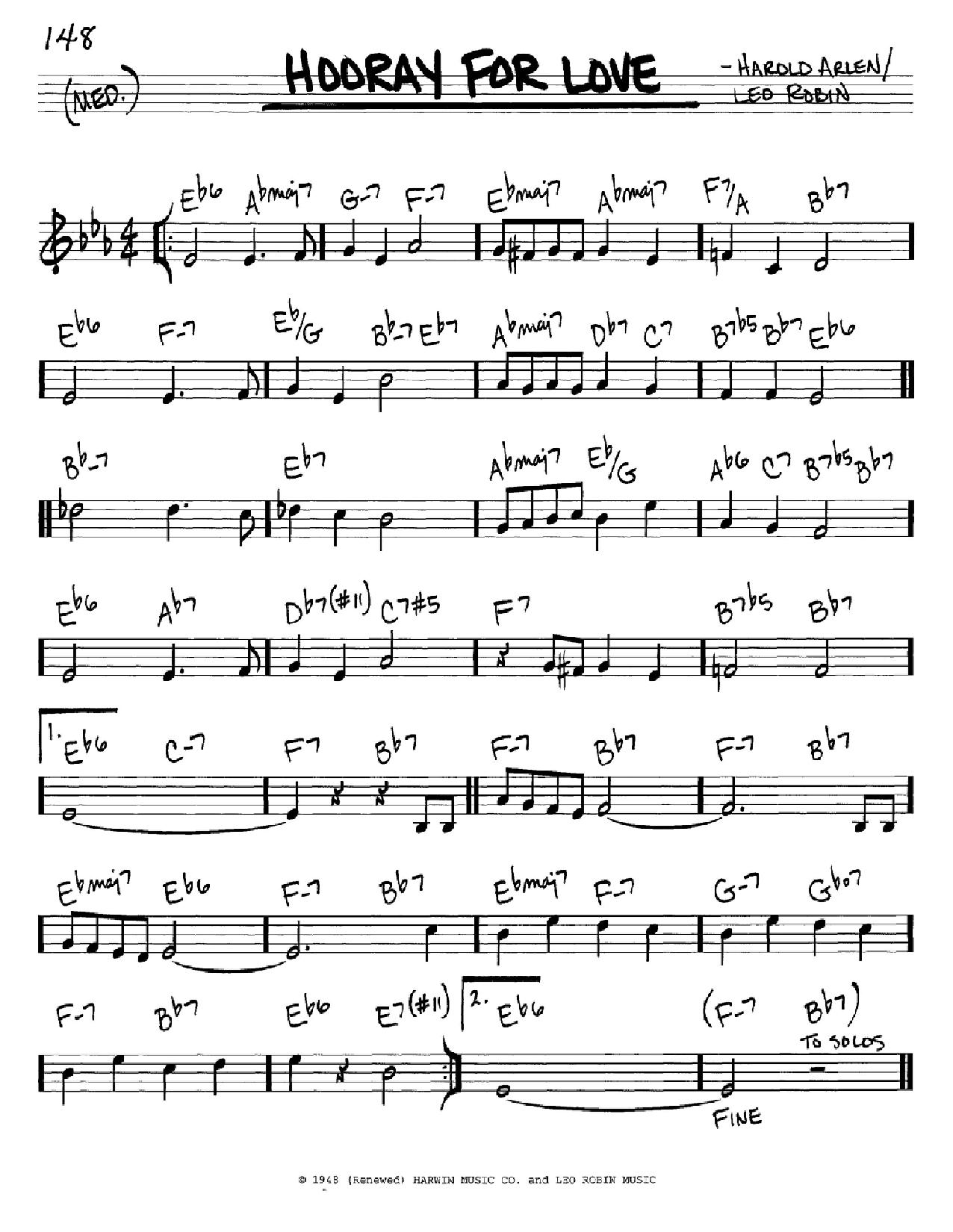 Partition autre Hooray For Love de Harold Arlen - Real Book, Melodie et Accords, Inst. En Do