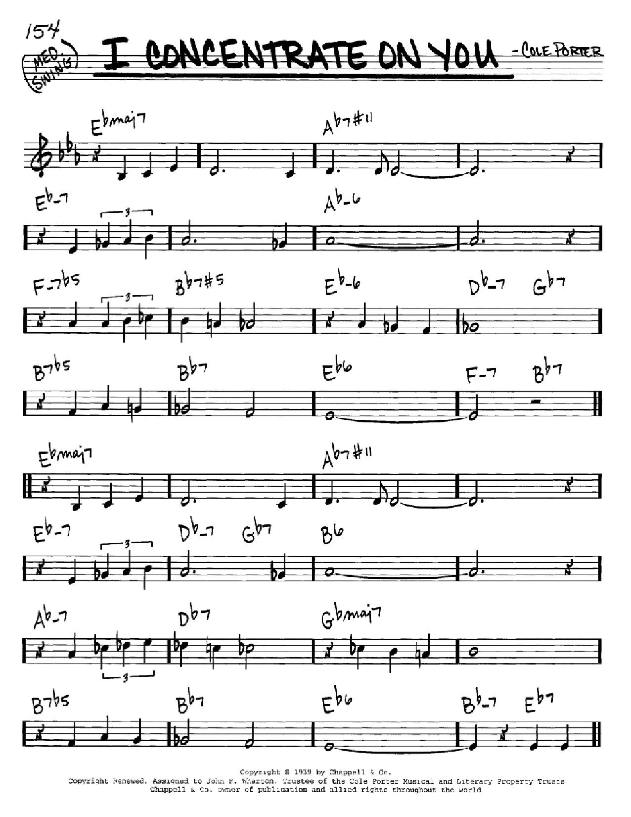 Partition autre I Concentrate On You de Cole Porter - Real Book, Melodie et Accords, Inst. En Do