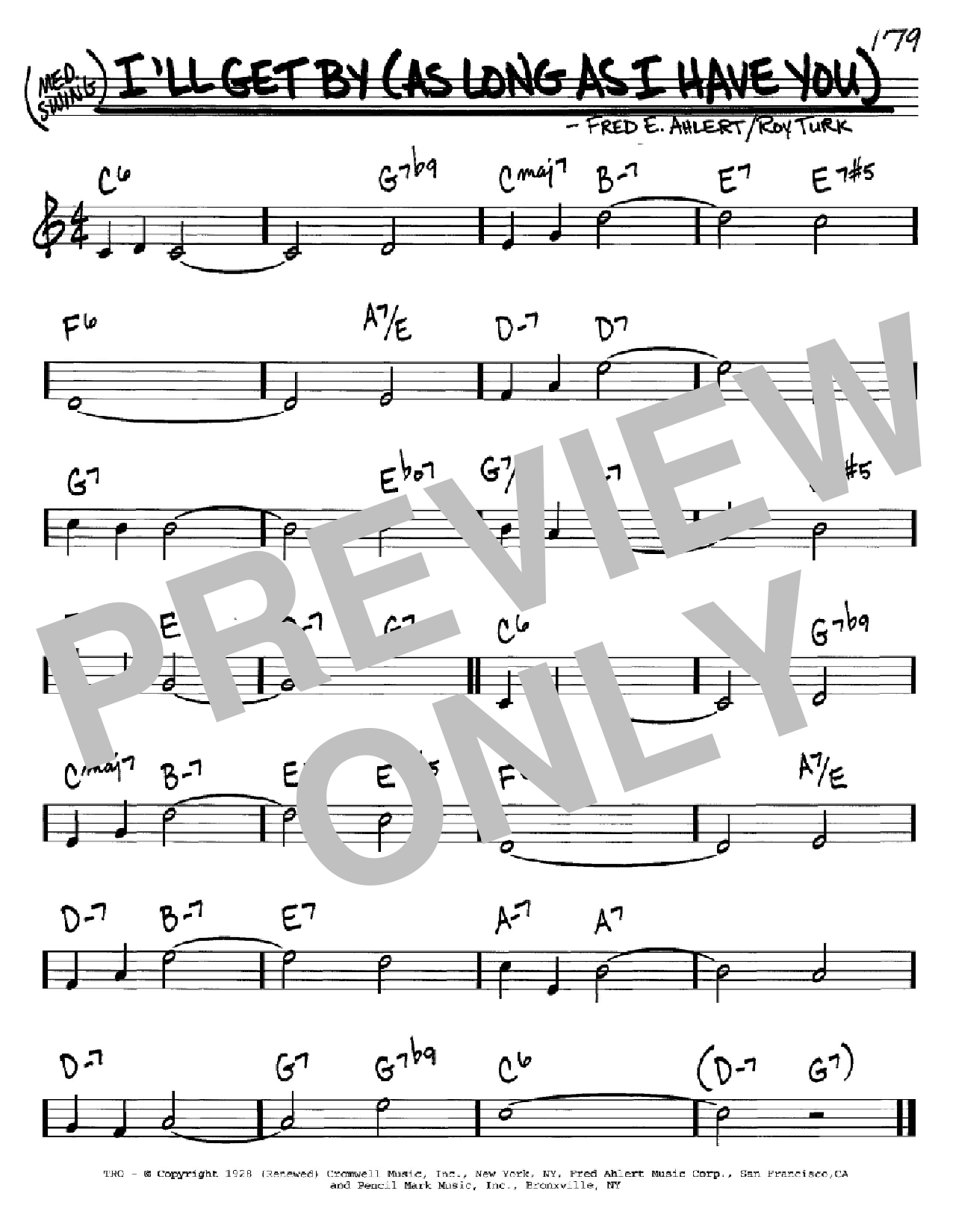 I'll Get By (As Long As I Have You) sheet music for voice and other instruments (C) by Roy Turk
