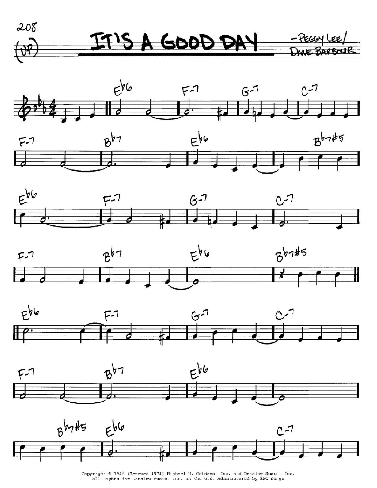Partition autre It's A Good Day de Peggy Lee - Real Book, Melodie et Accords, Inst. En Do