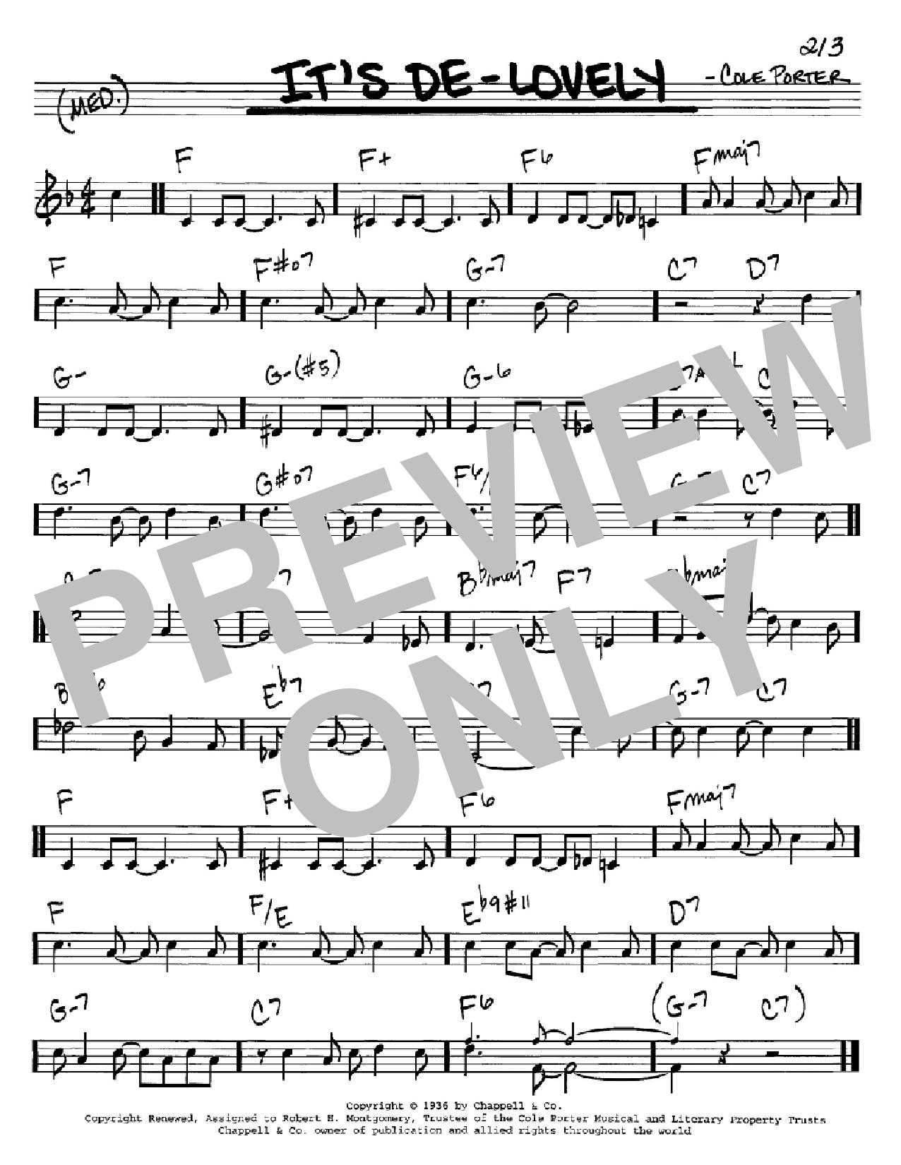 Partition autre It's De-Lovely de Cole Porter - Real Book, Melodie et Accords, Inst. En Do