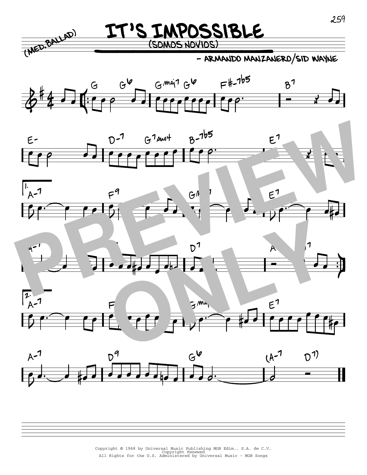 It's Impossible (Somos Novios) sheet music for voice and other instruments (C) by Sid Wayne