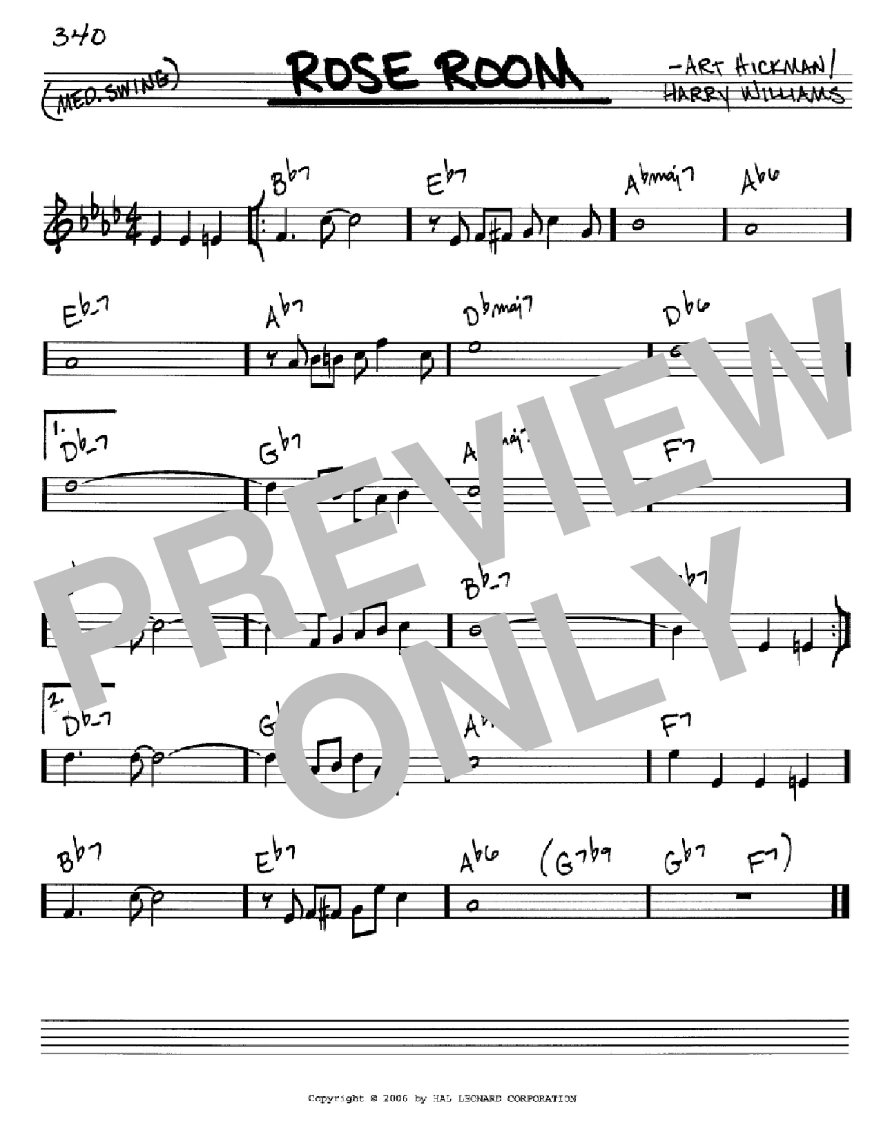 Rose Room sheet music for voice and other instruments (C) by Harry Williams