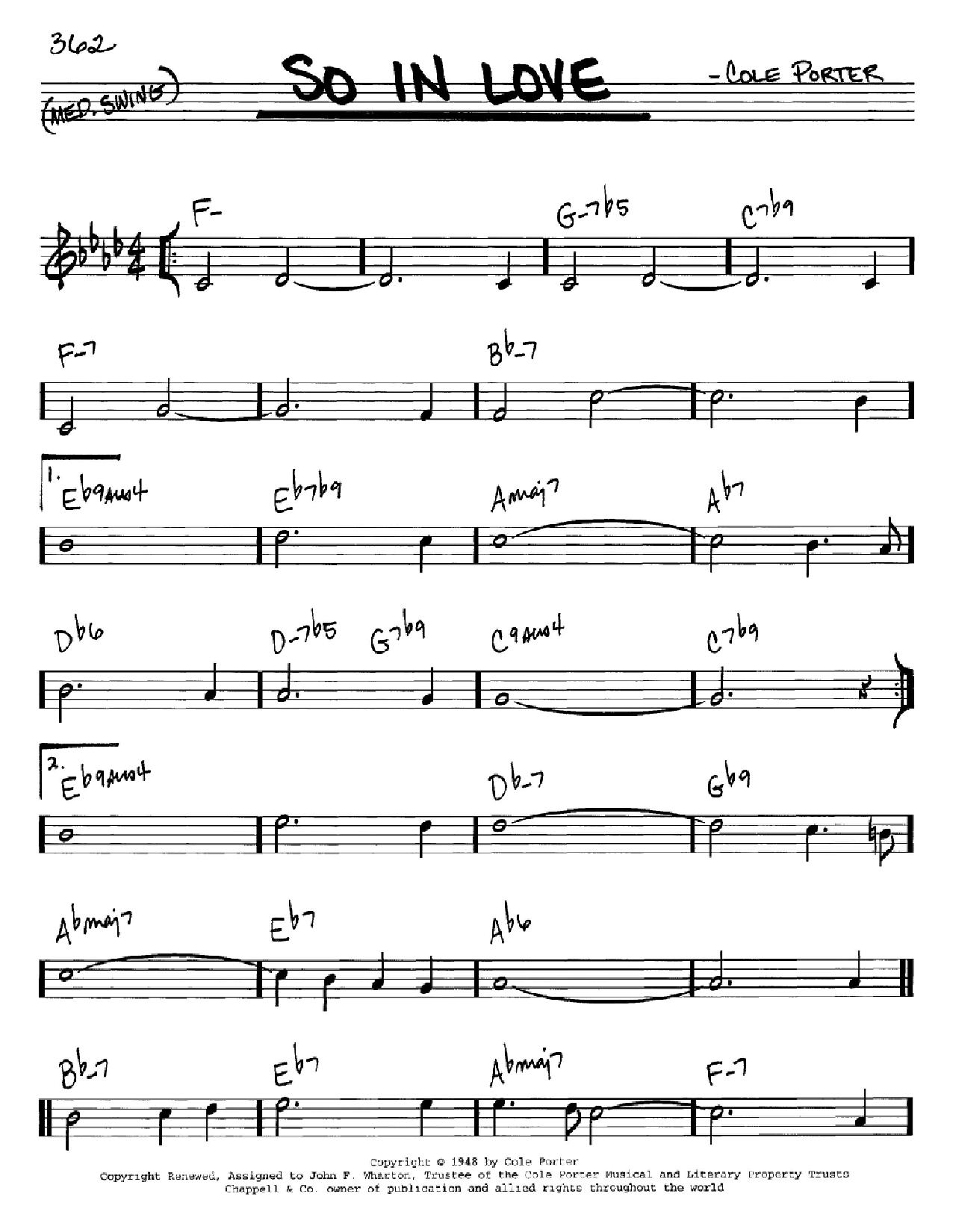 Partition autre So In Love de Rob Schneiderman - Real Book, Melodie et Accords, Inst. En Do