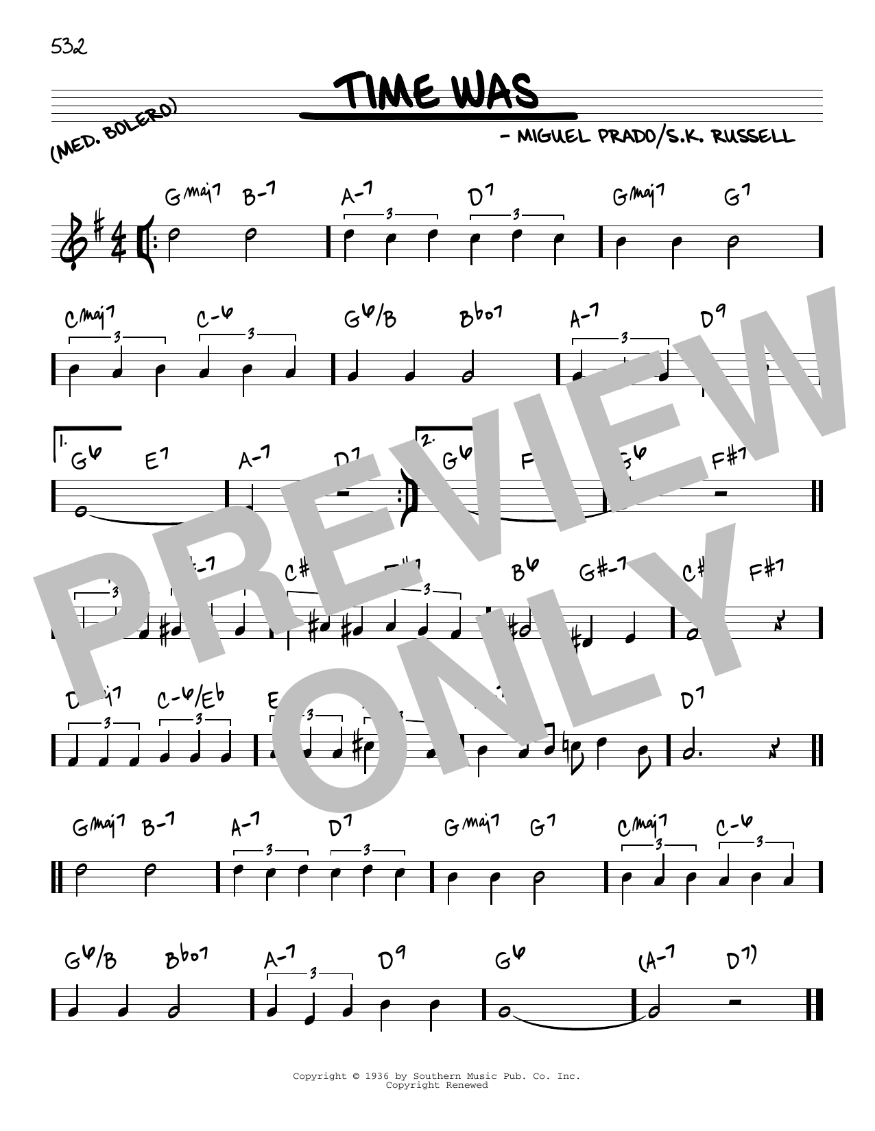 Time Was sheet music for voice and other instruments (C) by Miguel Prado