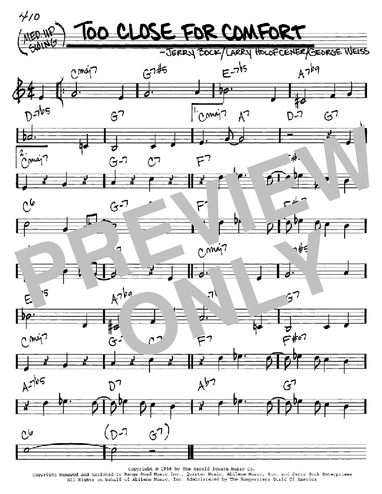 Partition autre Too Close For Comfort de Jerry Bock - Real Book, Melodie et Accords, Inst. En Do