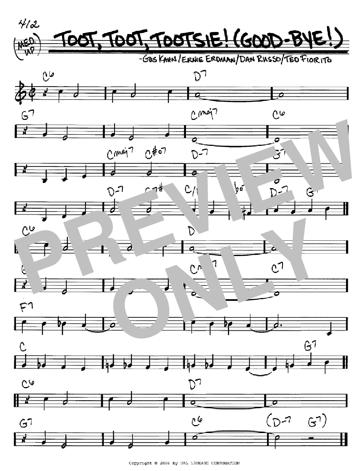 Toot, Toot, Tootsie! (Good-bye!) sheet music for voice and other instruments (C) by Ted Fiorito