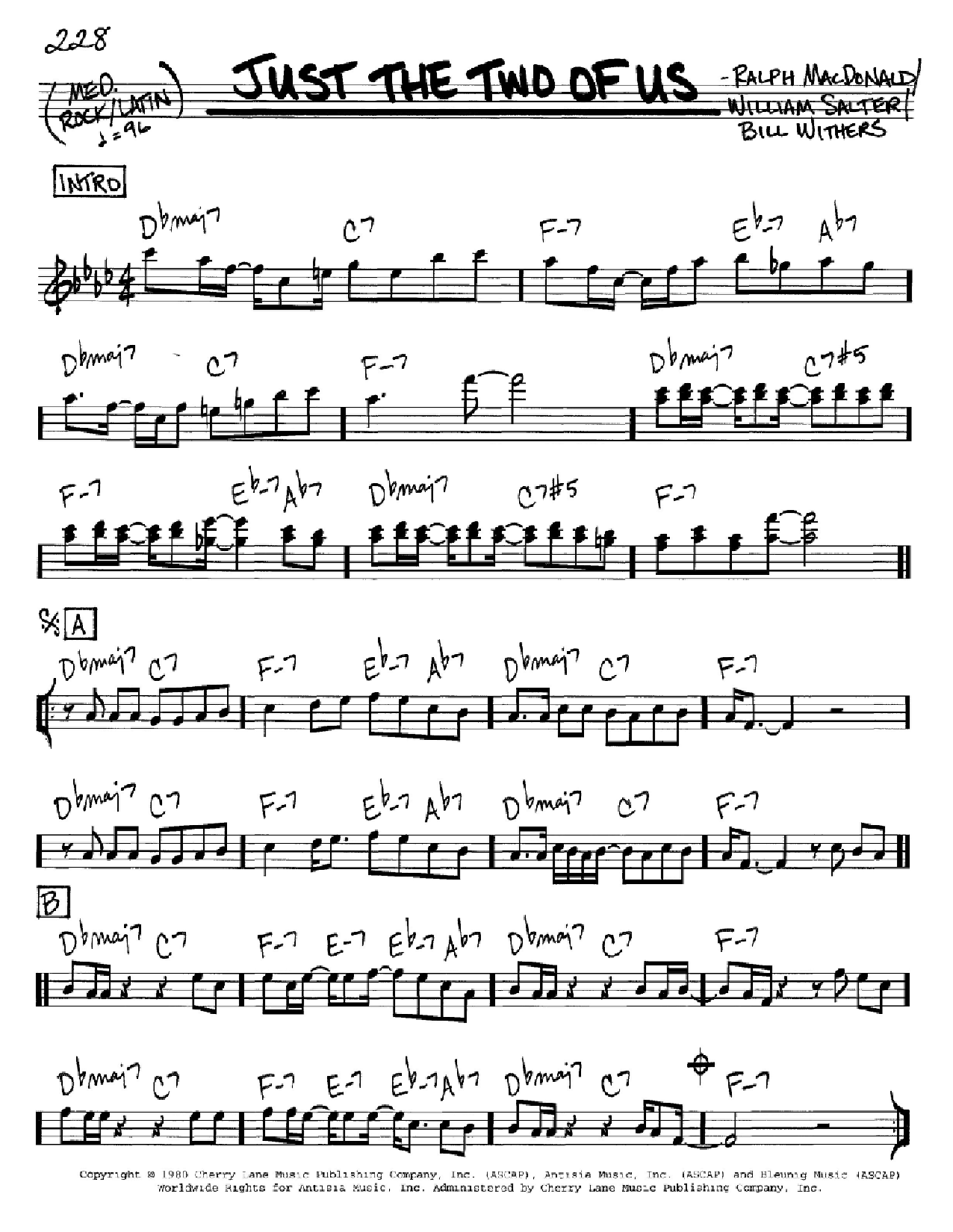 Just The Two Of Us sheet music for voice and other instruments (C) by William Salter