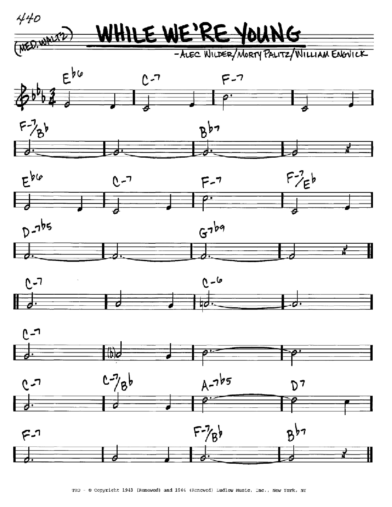 While We're Young sheet music for voice and other instruments (C) by William Engvick