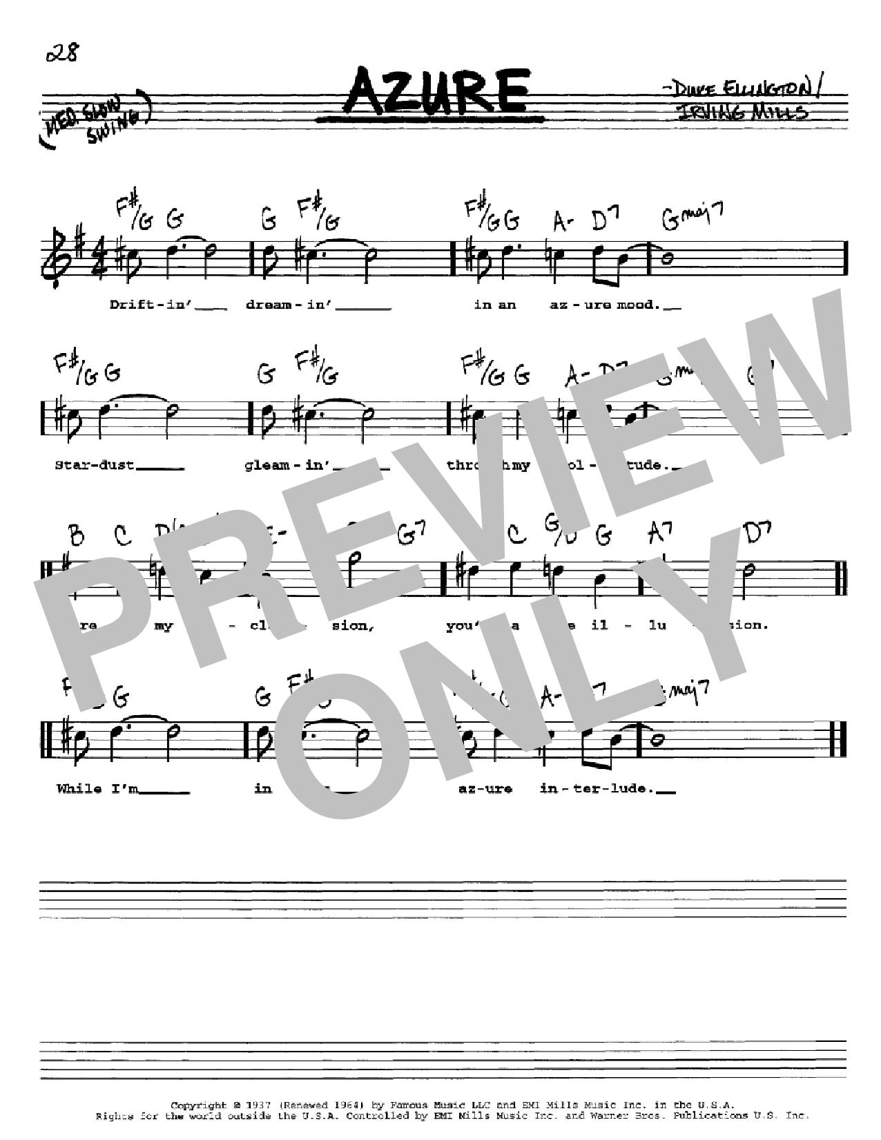 Partition autre Azure de Duke Ellington - Real Book, Melodie, Paroles et Accords, Inst. En Do
