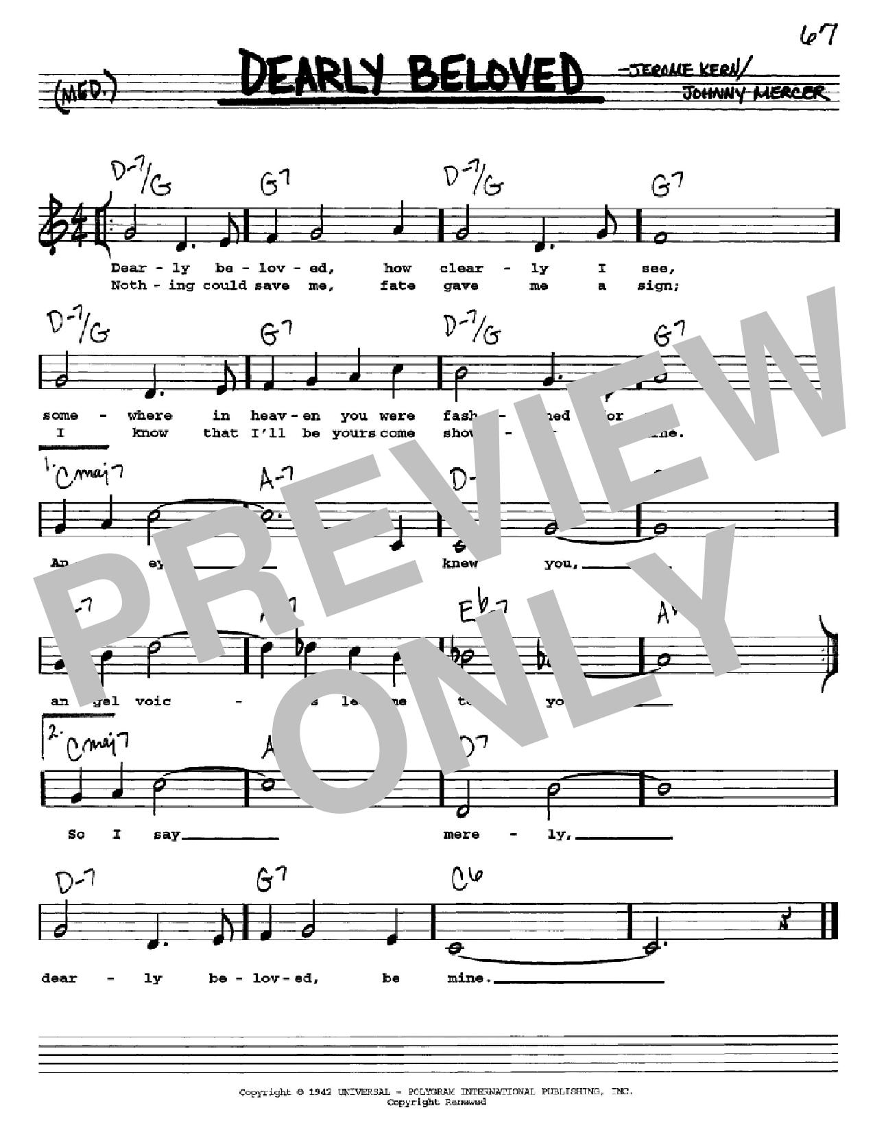 Partition autre Dearly Beloved de Jerome Kern - Real Book, Melodie, Paroles et Accords, Inst. En Do