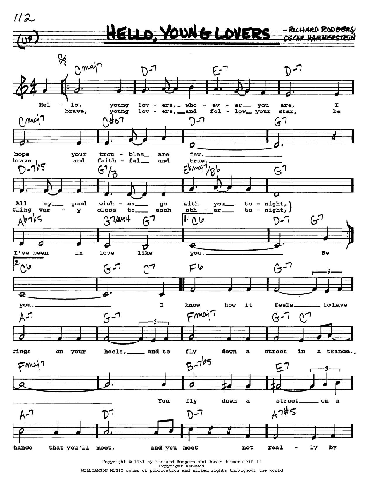 Partition autre Hello, Young Lovers de Rodgers & Hammerstein - Real Book, Melodie, Paroles et Accords, Inst. En Do