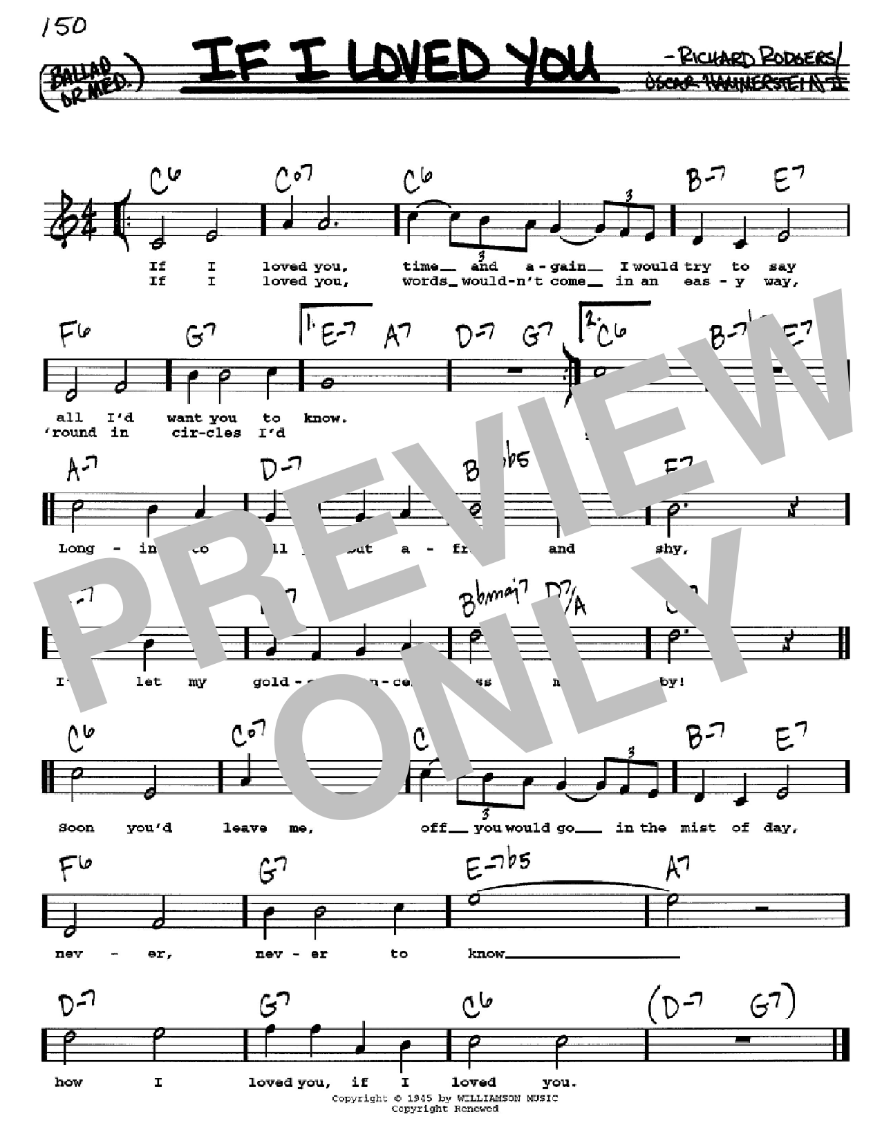 Partition autre If I Loved You de Rodgers & Hammerstein - Real Book, Melodie, Paroles et Accords, Inst. En Do