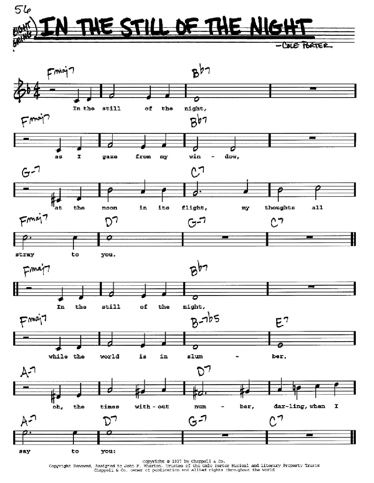 Partition autre In The Still Of The Night de Cole Porter - Real Book, Melodie, Paroles et Accords, Inst. En Do
