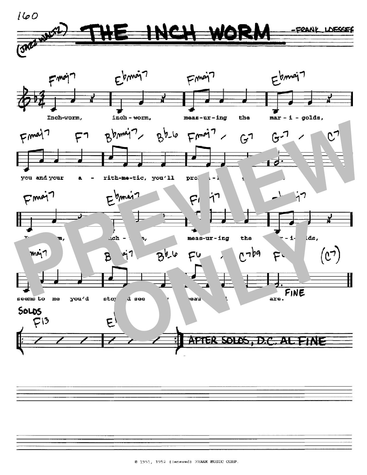 Partition autre The Inch Worm de Frank Loesser - Real Book, Melodie, Paroles et Accords, Inst. En Do