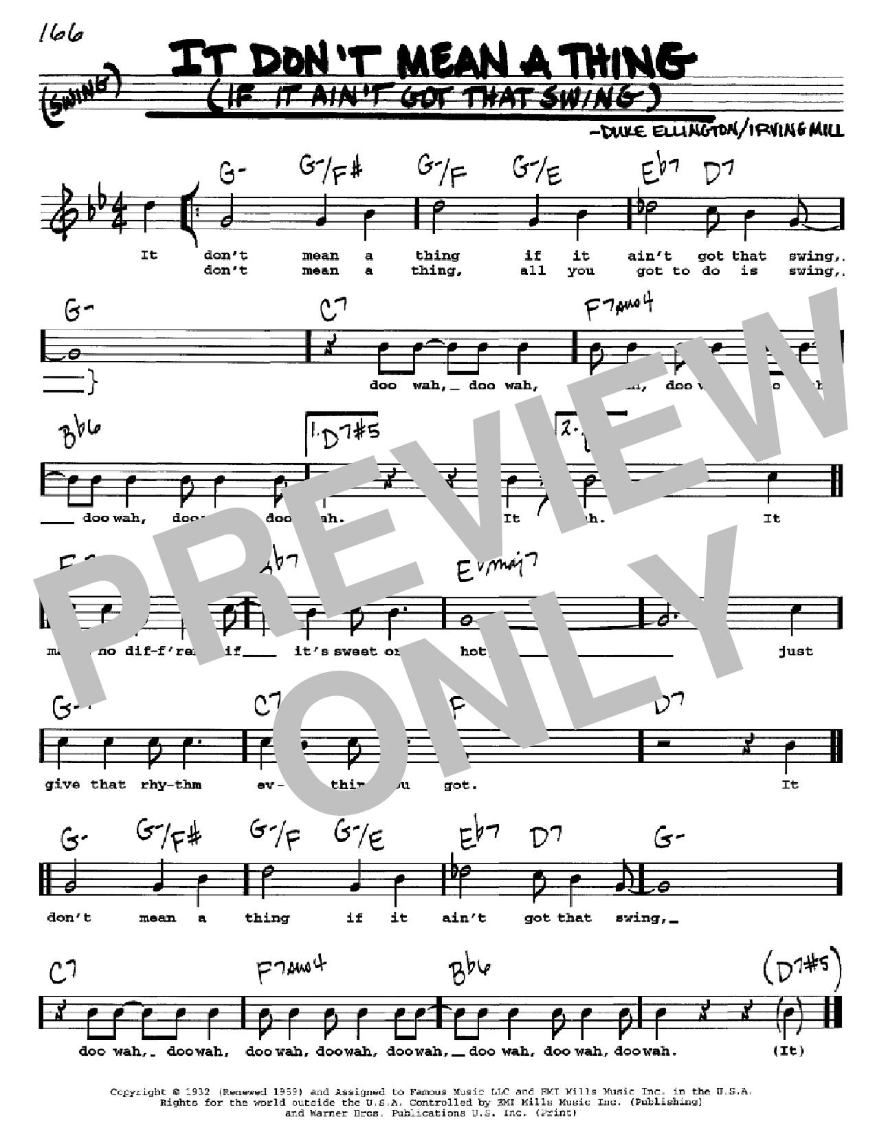 Partition autre It Don't Mean A Thing (If It Ain't Got That Swing) de Duke Ellington - Real Book, Melodie, Paroles et Accords, Inst. En Do