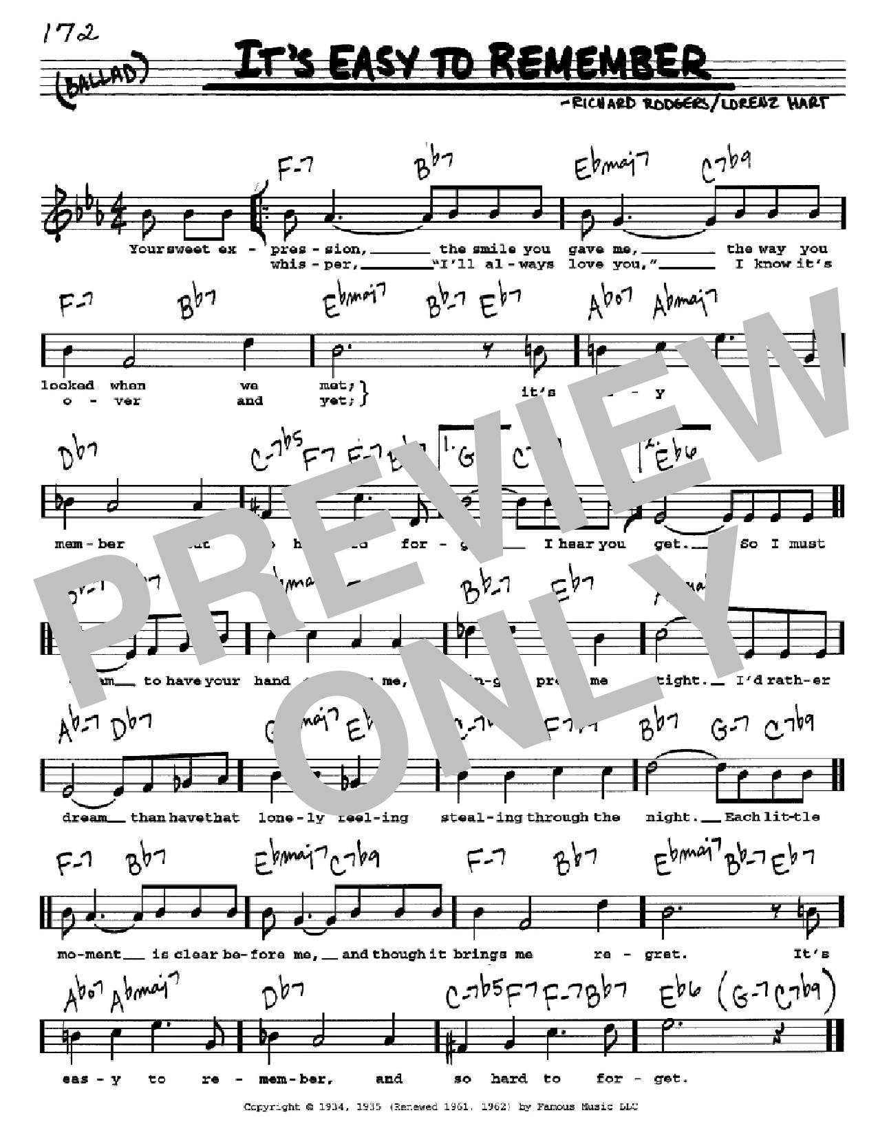 Partition autre It's Easy To Remember de Rodgers & Hart - Real Book, Melodie, Paroles et Accords, Inst. En Do
