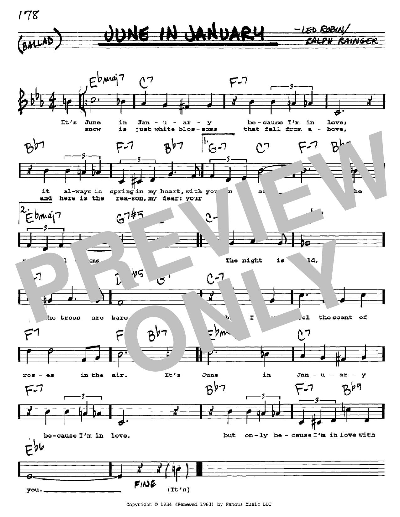 Partition autre June In January de Ralph Rainger - Real Book, Melodie, Paroles et Accords, Inst. En Do