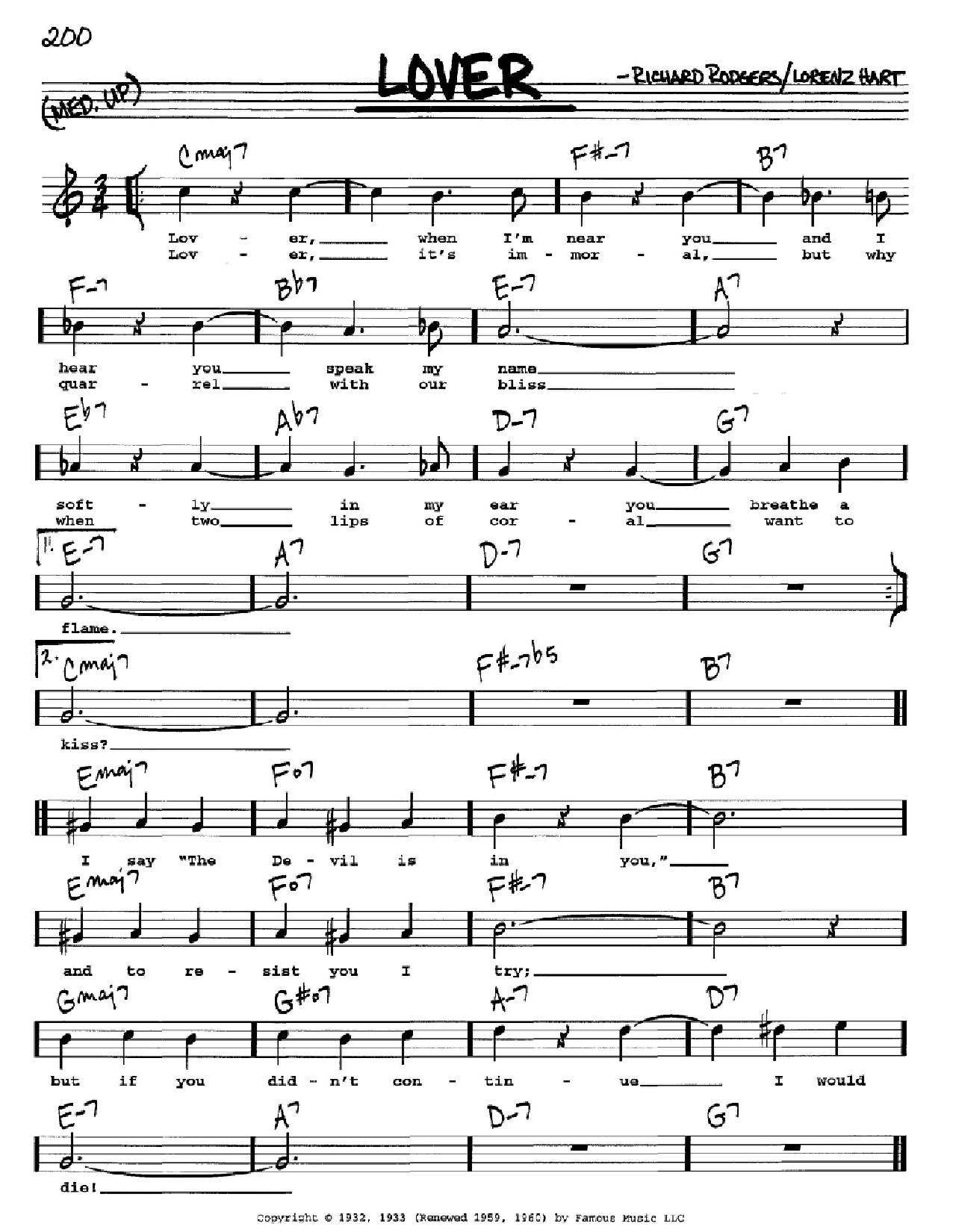 Partition autre Lover de Rodgers & Hart - Real Book, Melodie, Paroles et Accords, Inst. En Do