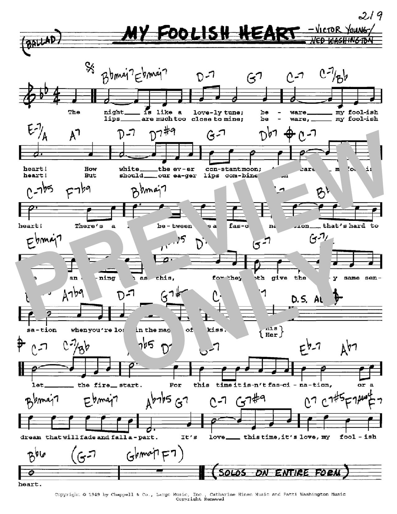 Partition autre My Foolish Heart de Ned Washington - Real Book, Melodie, Paroles et Accords, Inst. En Do