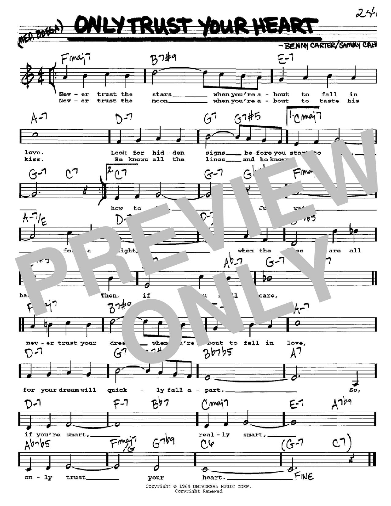 Partition autre Only Trust Your Heart de Sammy Cahn - Real Book, Melodie, Paroles et Accords, Inst. En Do