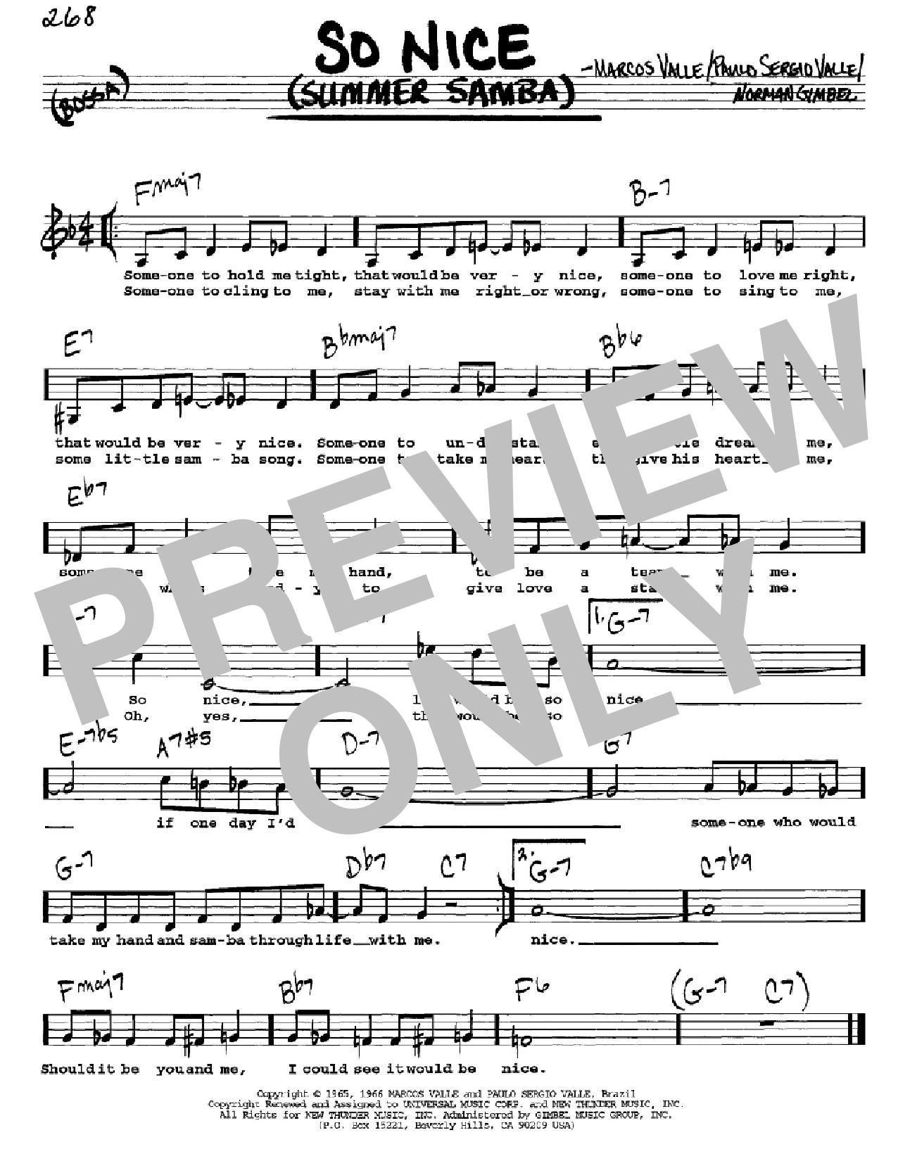 Partition autre So Nice (Summer Samba) de Norman Gimbel - Real Book, Melodie, Paroles et Accords, Inst. En Do