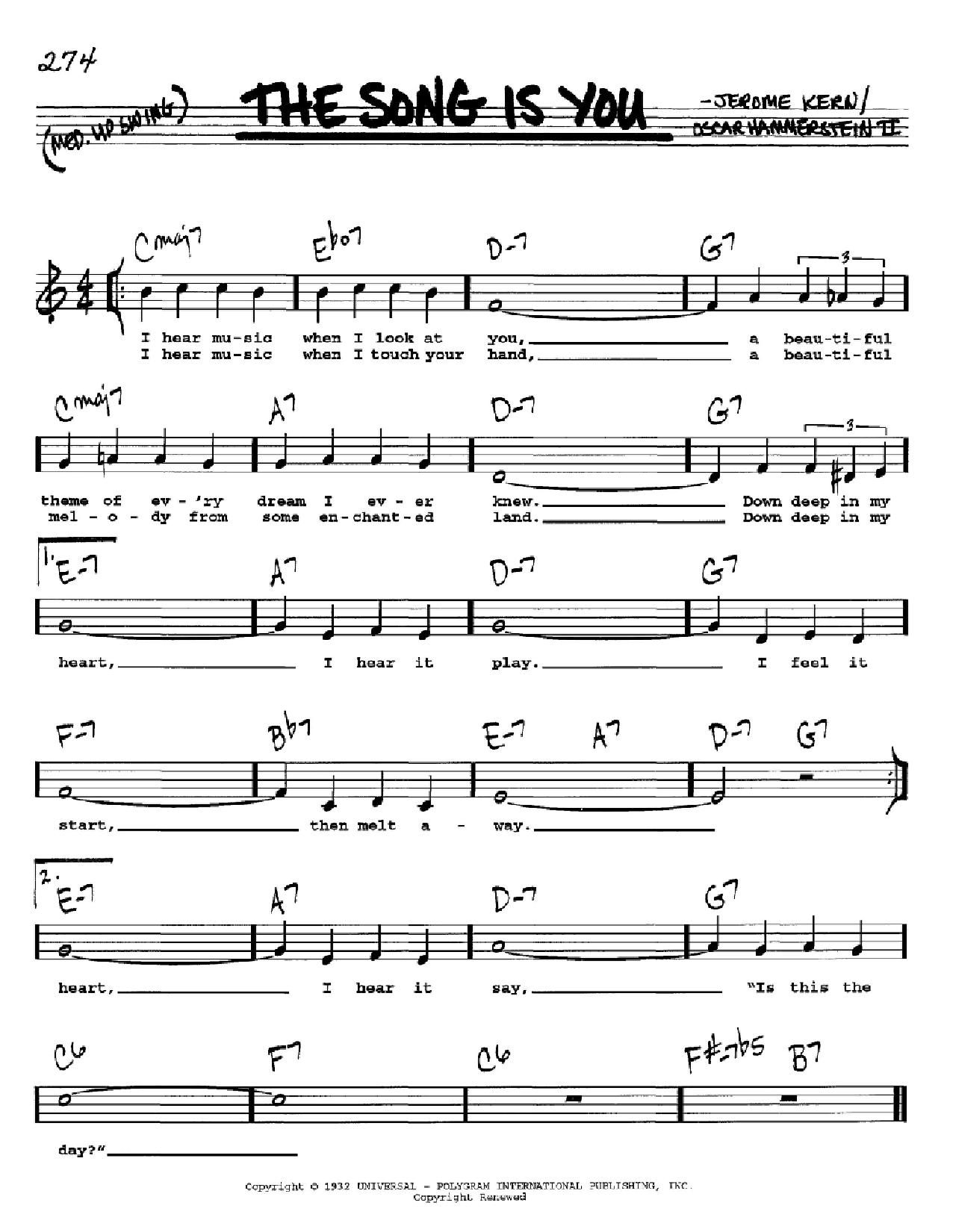 Partition autre The Song Is You de Jerome Kern - Real Book, Melodie, Paroles et Accords, Inst. En Do