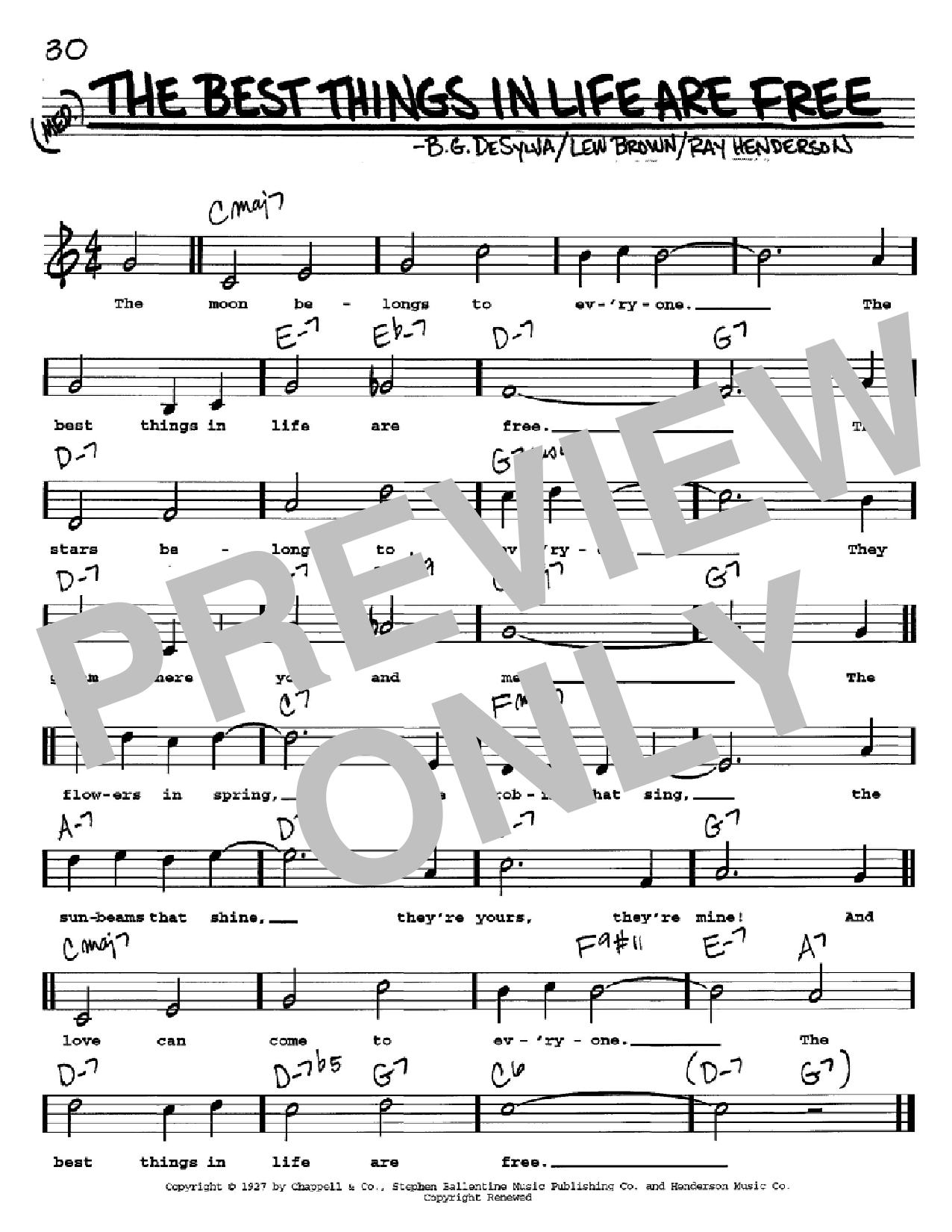 The Best Things In Life Are Free sheet music for voice and other instruments (Vocal Volume 2) by Ray Henderson