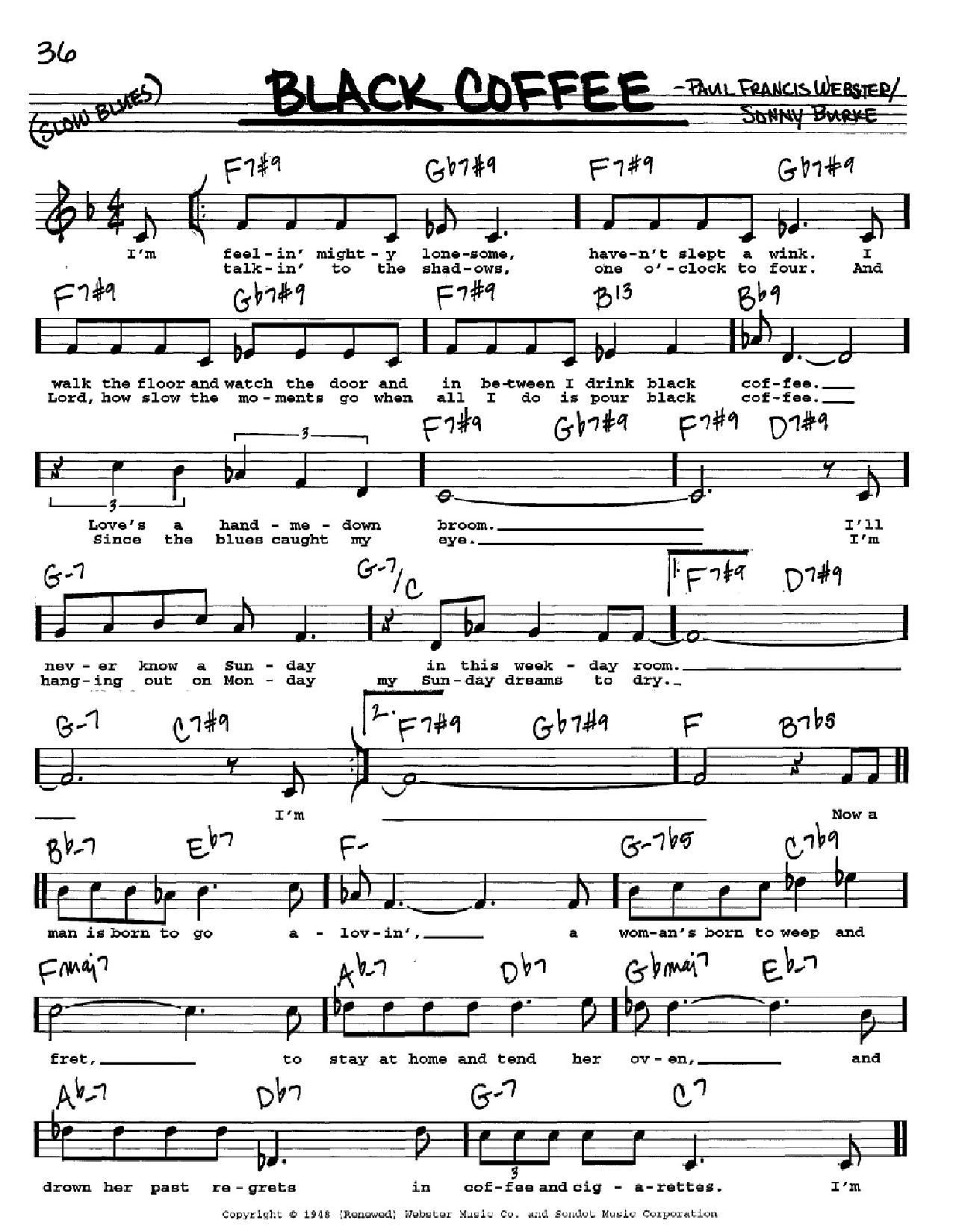 Black Coffee Piano Chords
