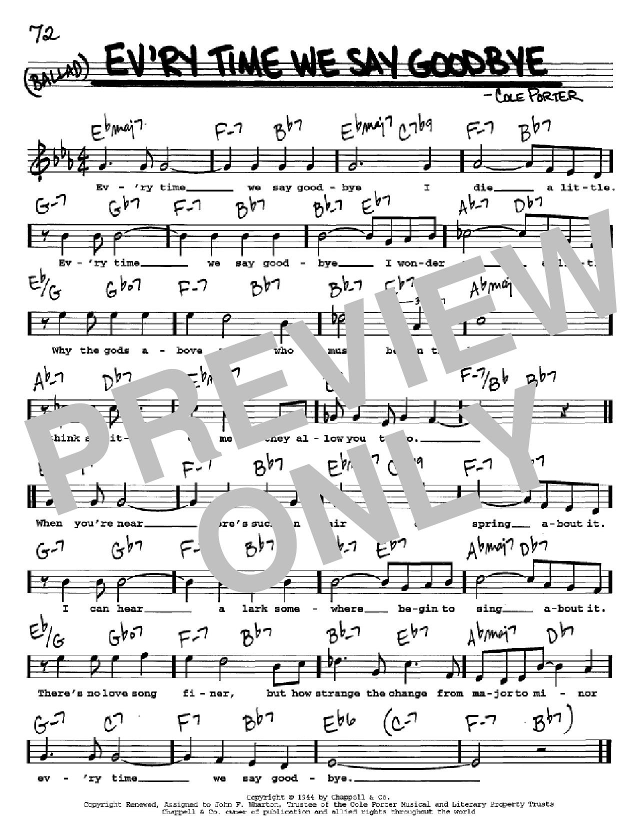 Partition autre Ev'ry Time We Say Goodbye de Cole Porter - Real Book, Melodie, Paroles et Accords, Inst. En Do