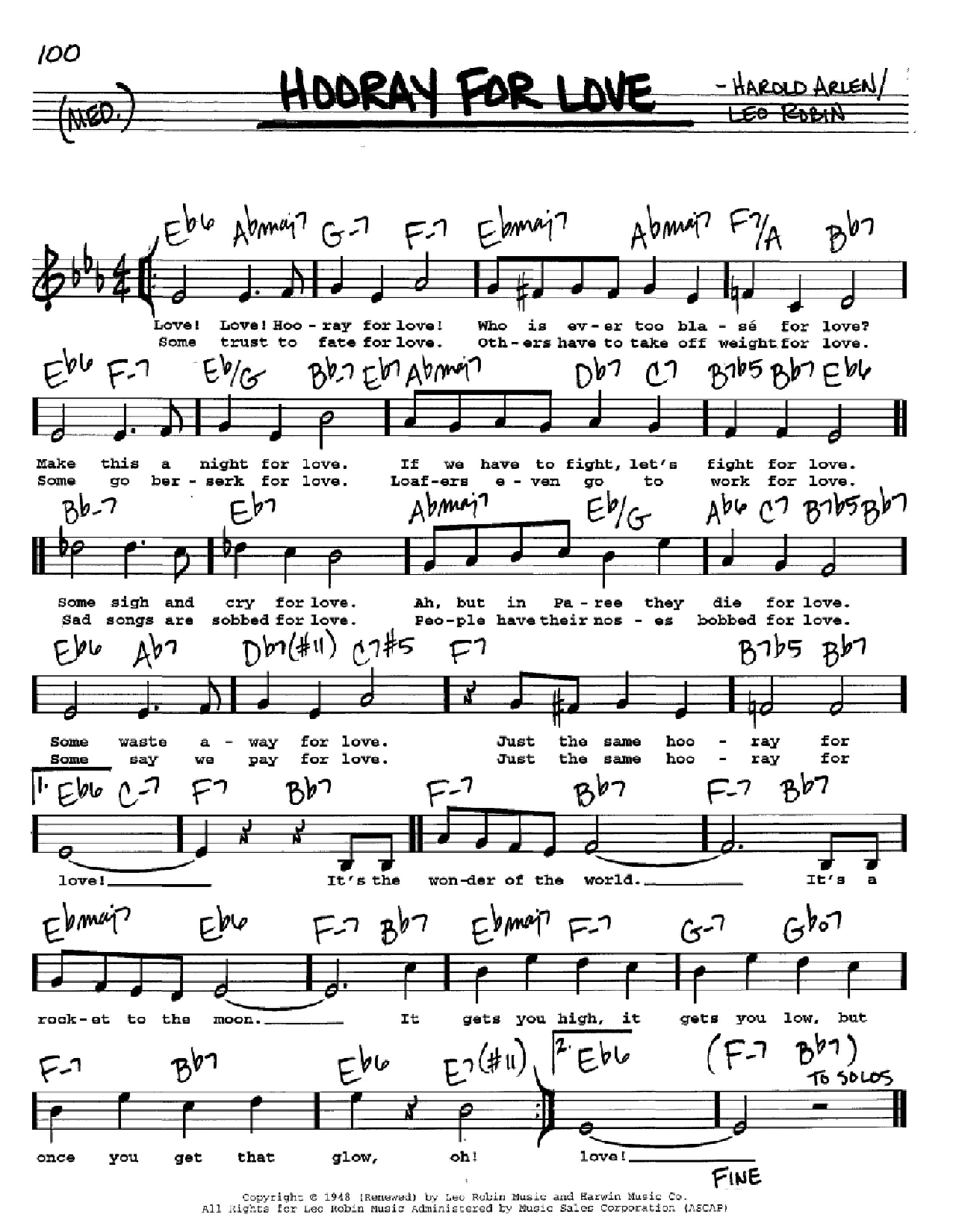 Partition autre Hooray For Love de Harold Arlen - Real Book, Melodie, Paroles et Accords, Inst. En Do