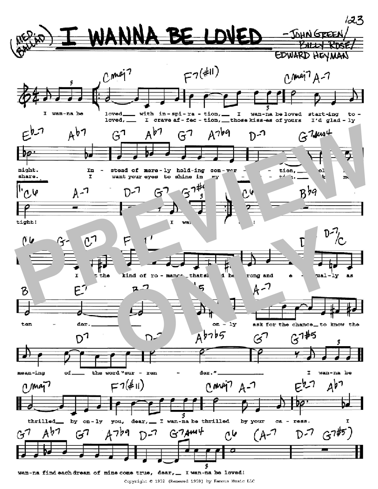 I Wanna Be Loved sheet music for voice and other instruments (Vocal Volume 2) by Johnny Green