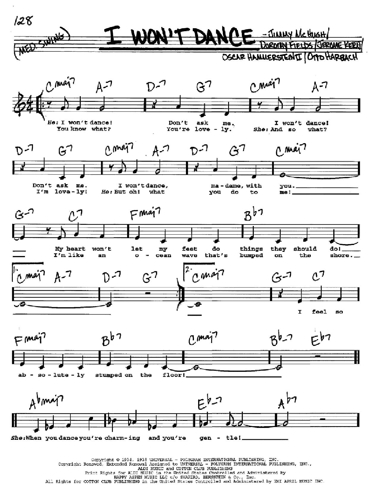 Partition autre I Won't Dance de Jerome Kern - Real Book, Melodie, Paroles et Accords, Inst. En Do