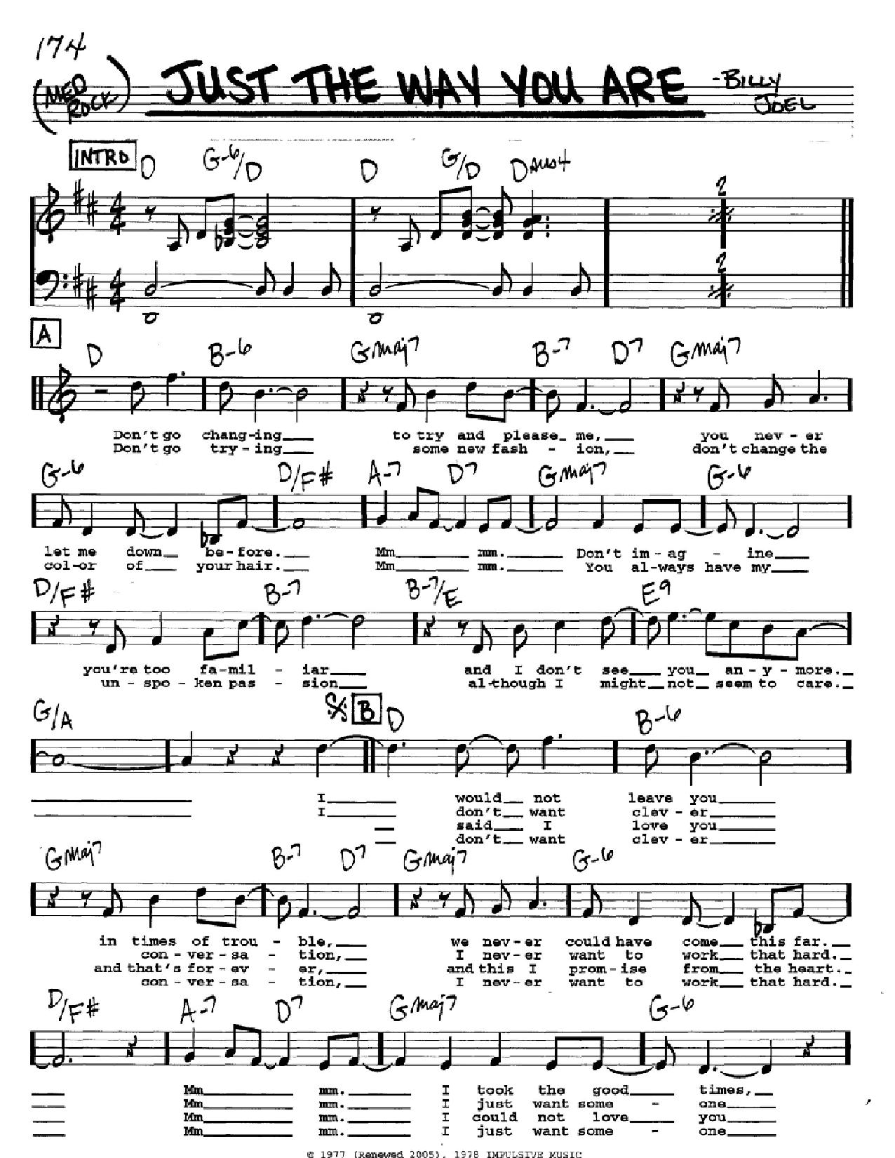 Partition autre Just The Way You Are de Billy Joel - Real Book, Melodie, Paroles et Accords, Inst. En Do