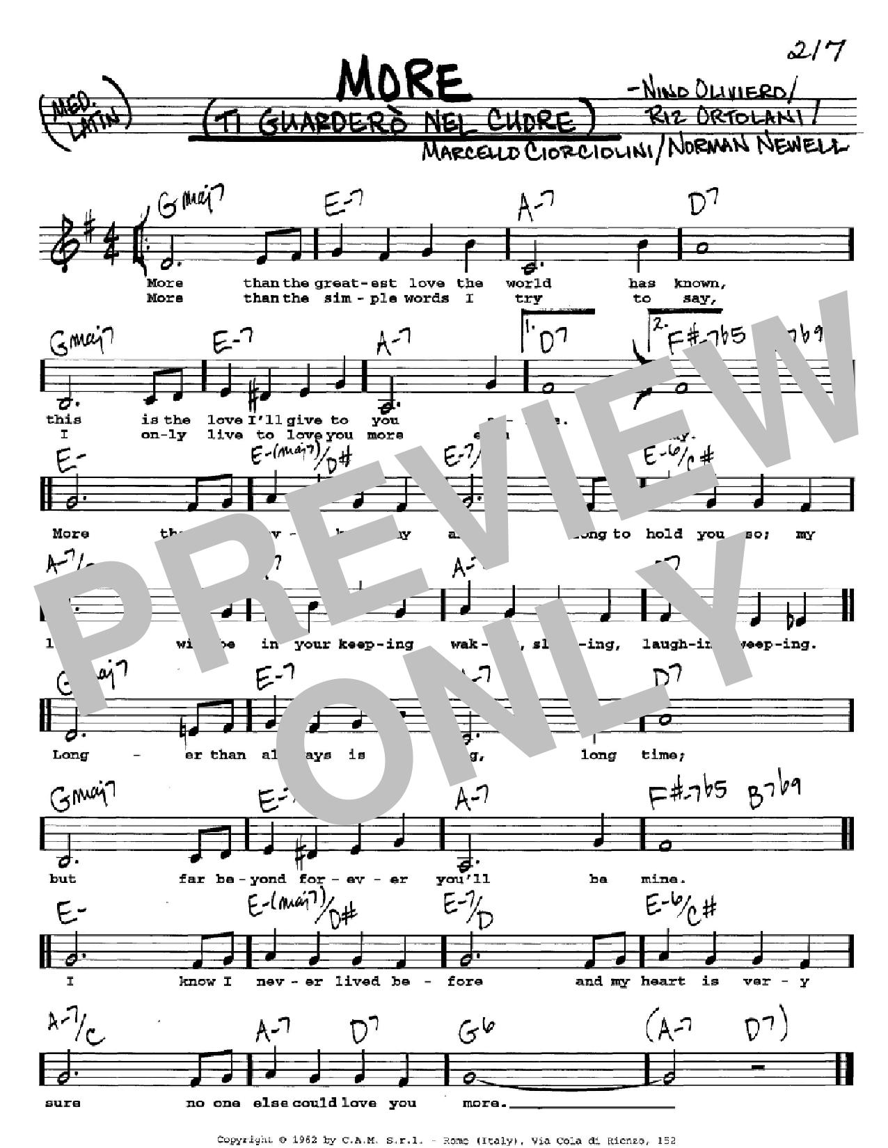 Partition autre More (Ti Guardero Nel Cuore) de Marcello Ciorciolini - Real Book, Melodie, Paroles et Accords, Inst. En Do
