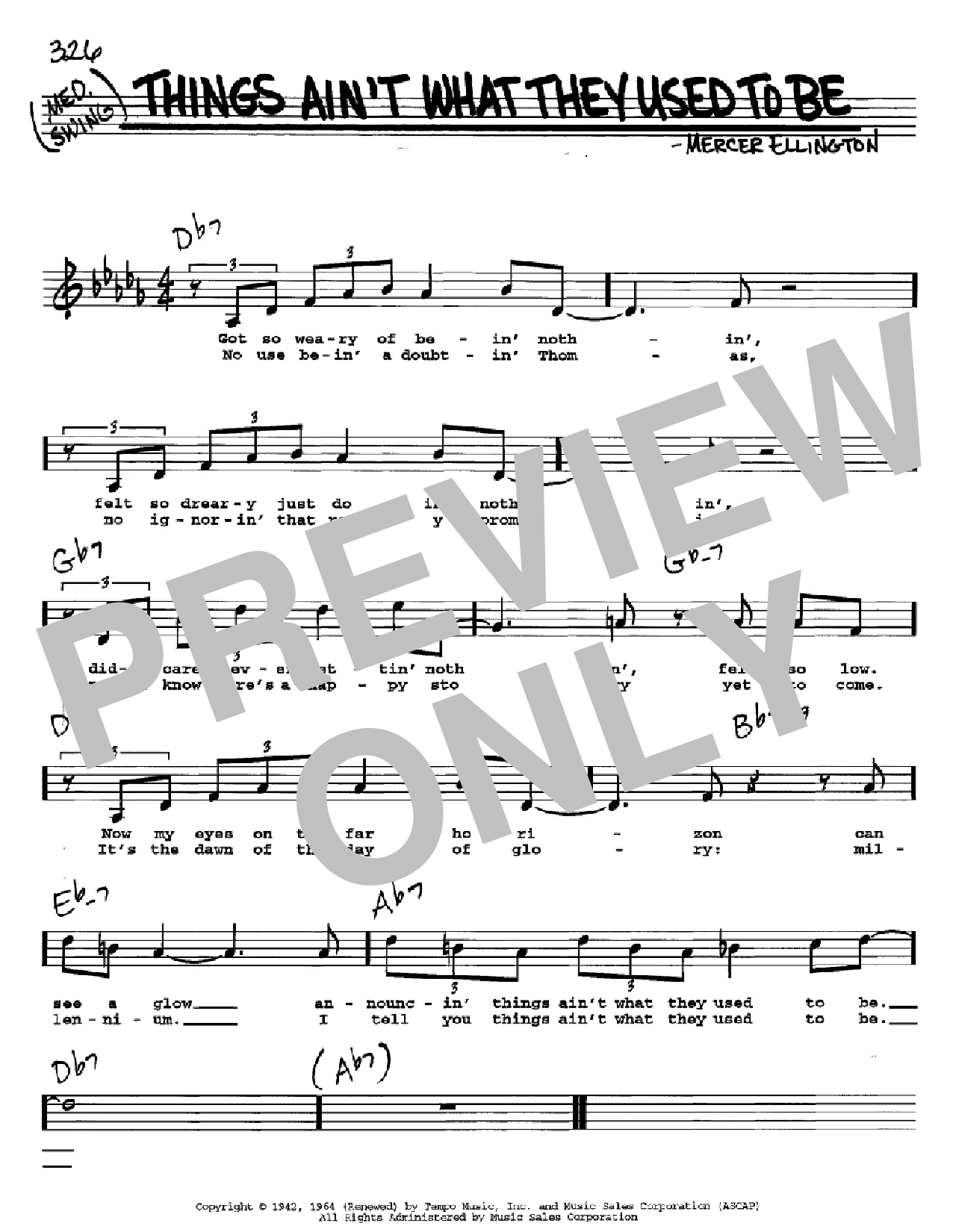 Things Ain't What They Used To Be sheet music for voice and other instruments (Vocal Volume 2) by Mercer Ellington