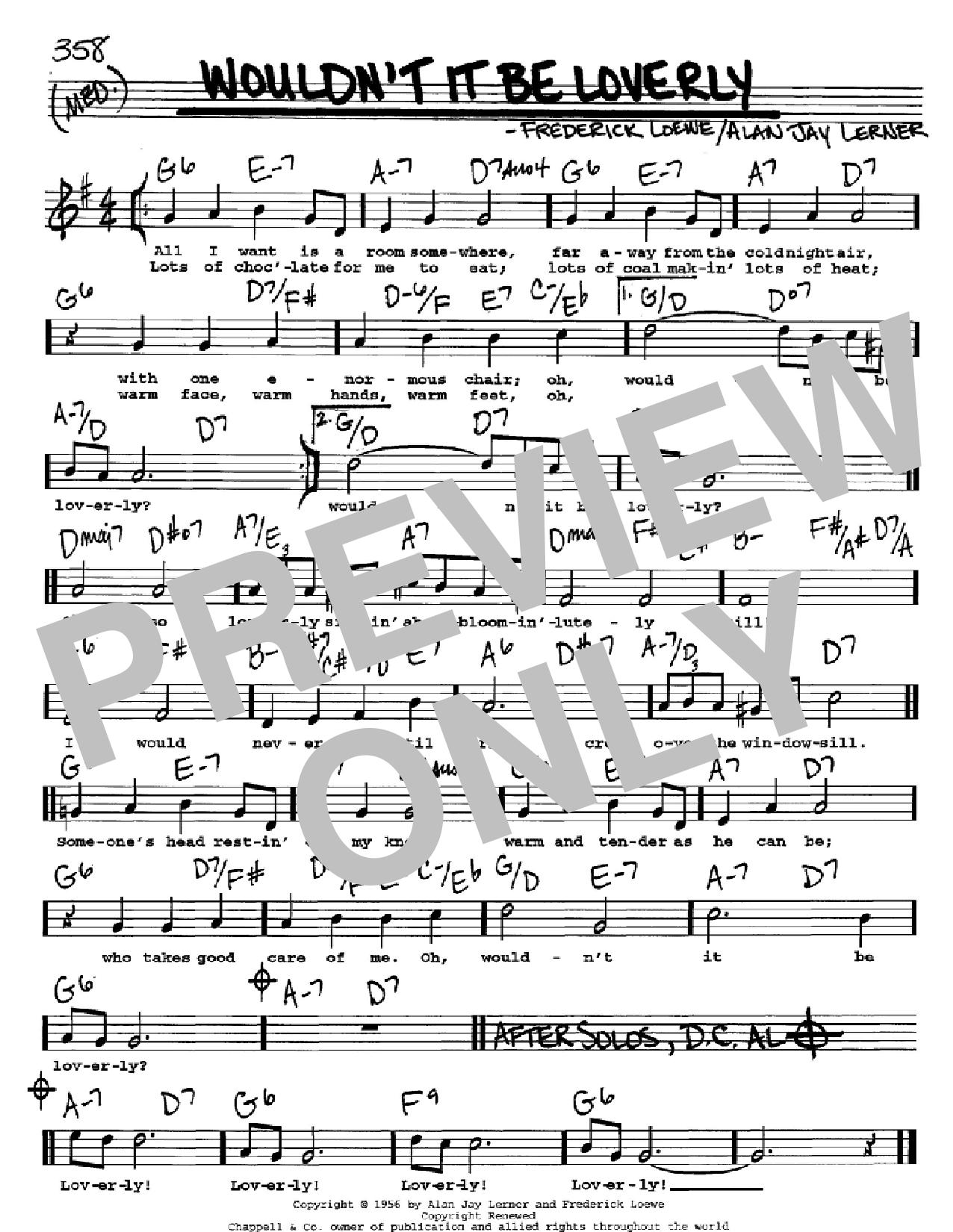 Partition autre Wouldn't It Be Loverly de Lerner & Loewe - Real Book, Melodie, Paroles et Accords, Inst. En Do